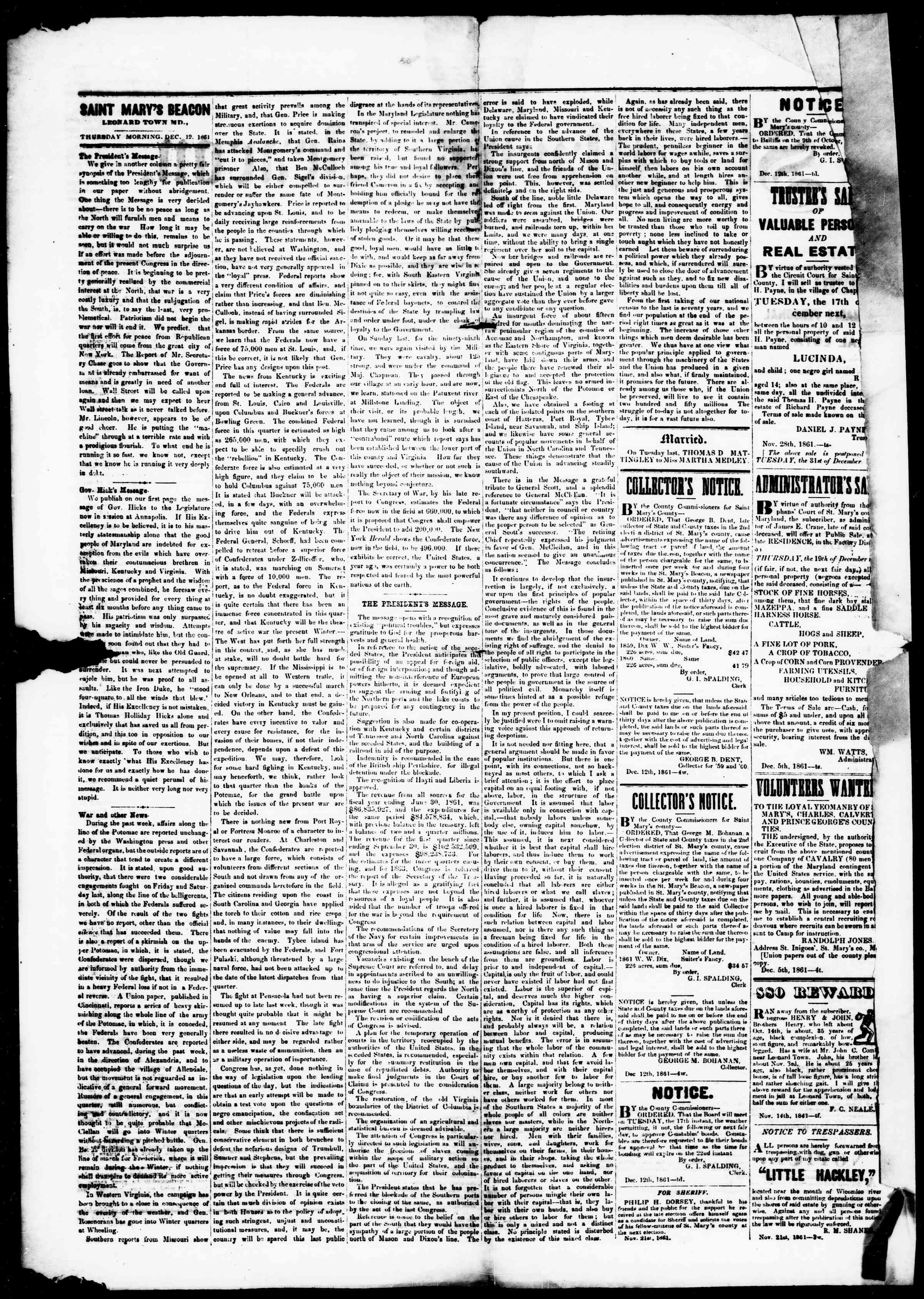 Newspaper of St. Mary's Beacon dated December 12, 1861 Page 3