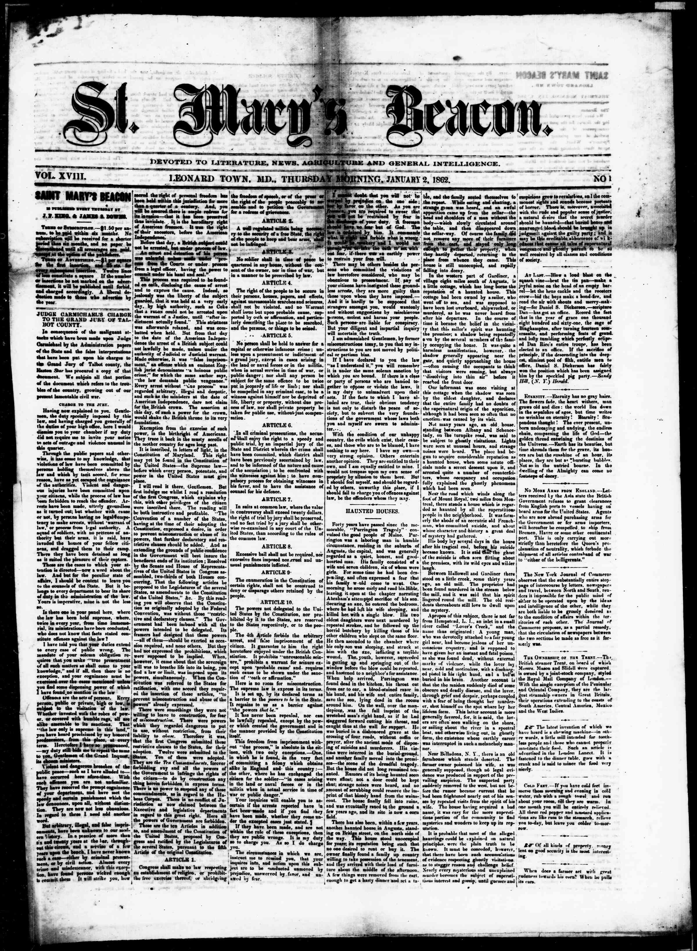 Newspaper of St. Mary's Beacon dated January 2, 1862 Page 1