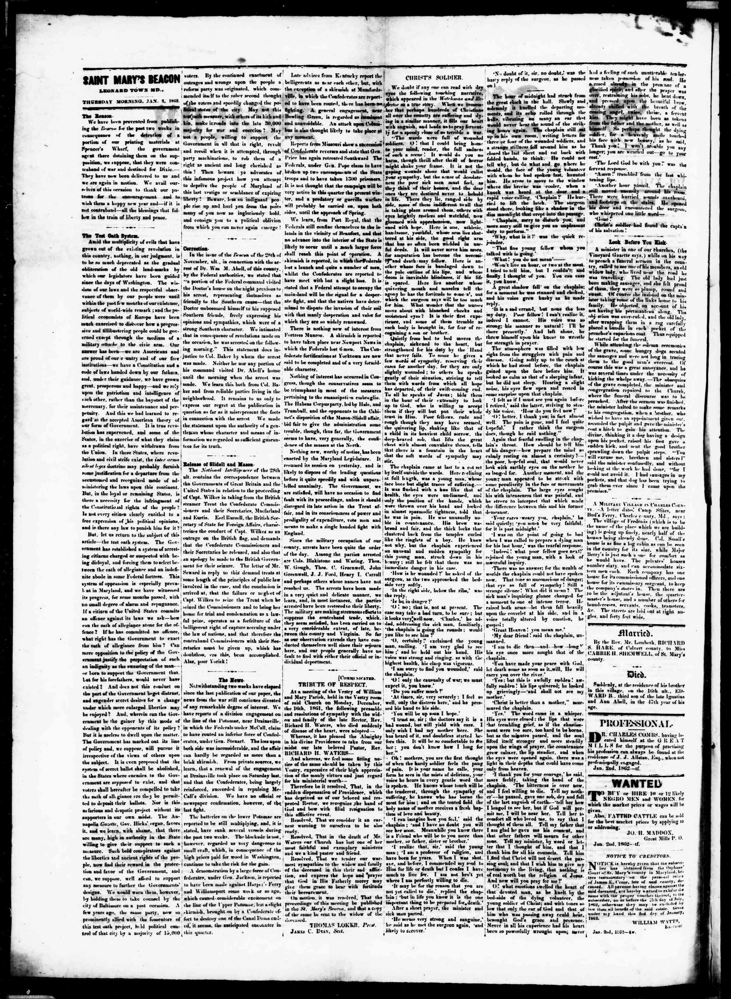 Newspaper of St. Mary's Beacon dated January 2, 1862 Page 2