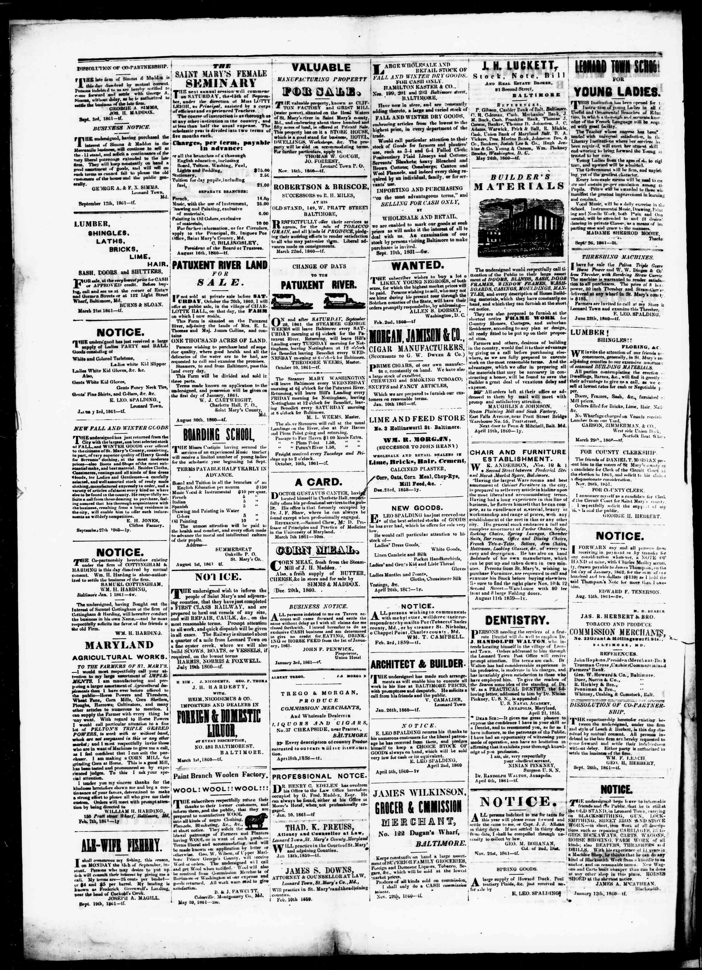 Newspaper of St. Mary's Beacon dated January 2, 1862 Page 4