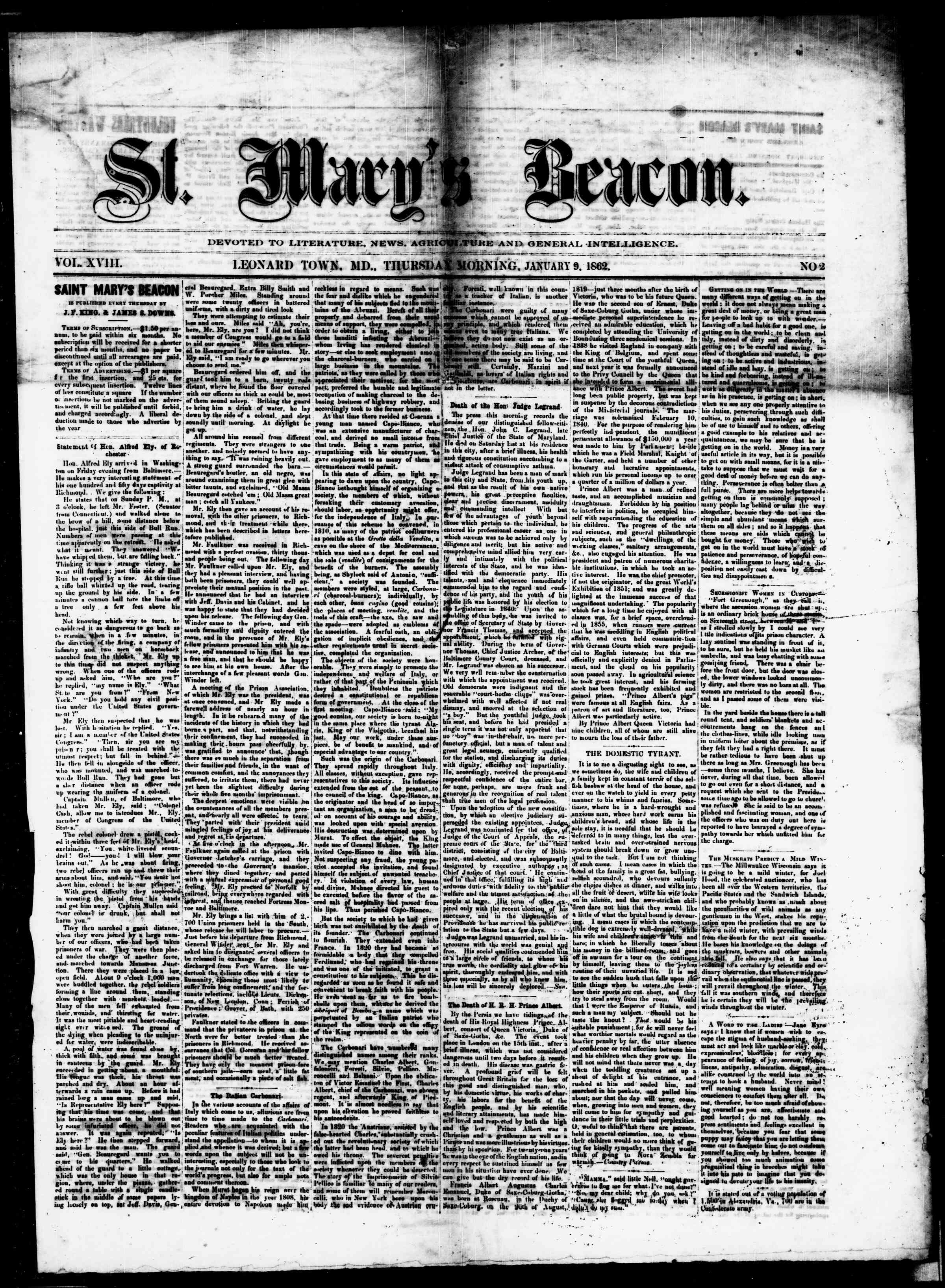 Newspaper of St. Mary's Beacon dated January 9, 1862 Page 1