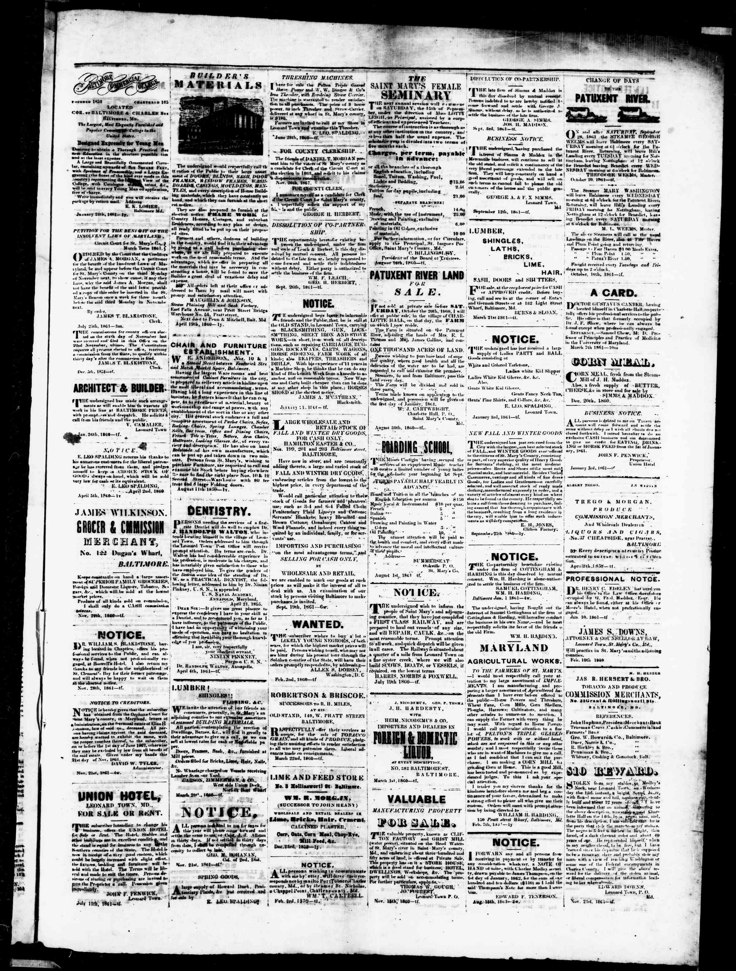 Newspaper of St. Mary's Beacon dated January 9, 1862 Page 3