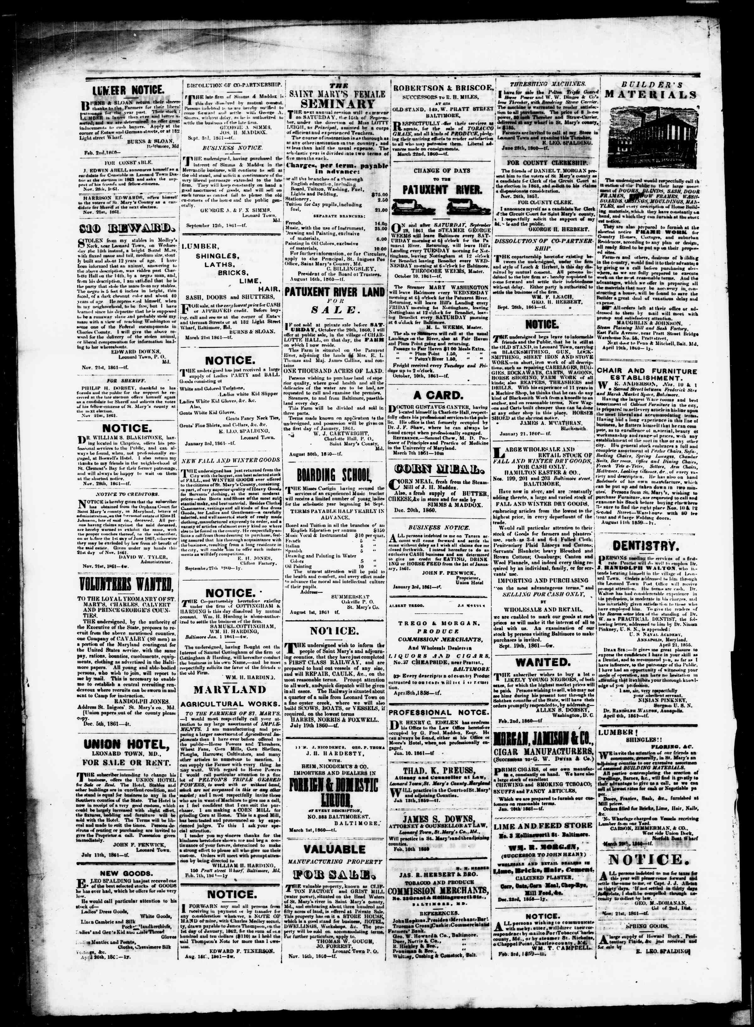 Newspaper of St. Mary's Beacon dated January 9, 1862 Page 4