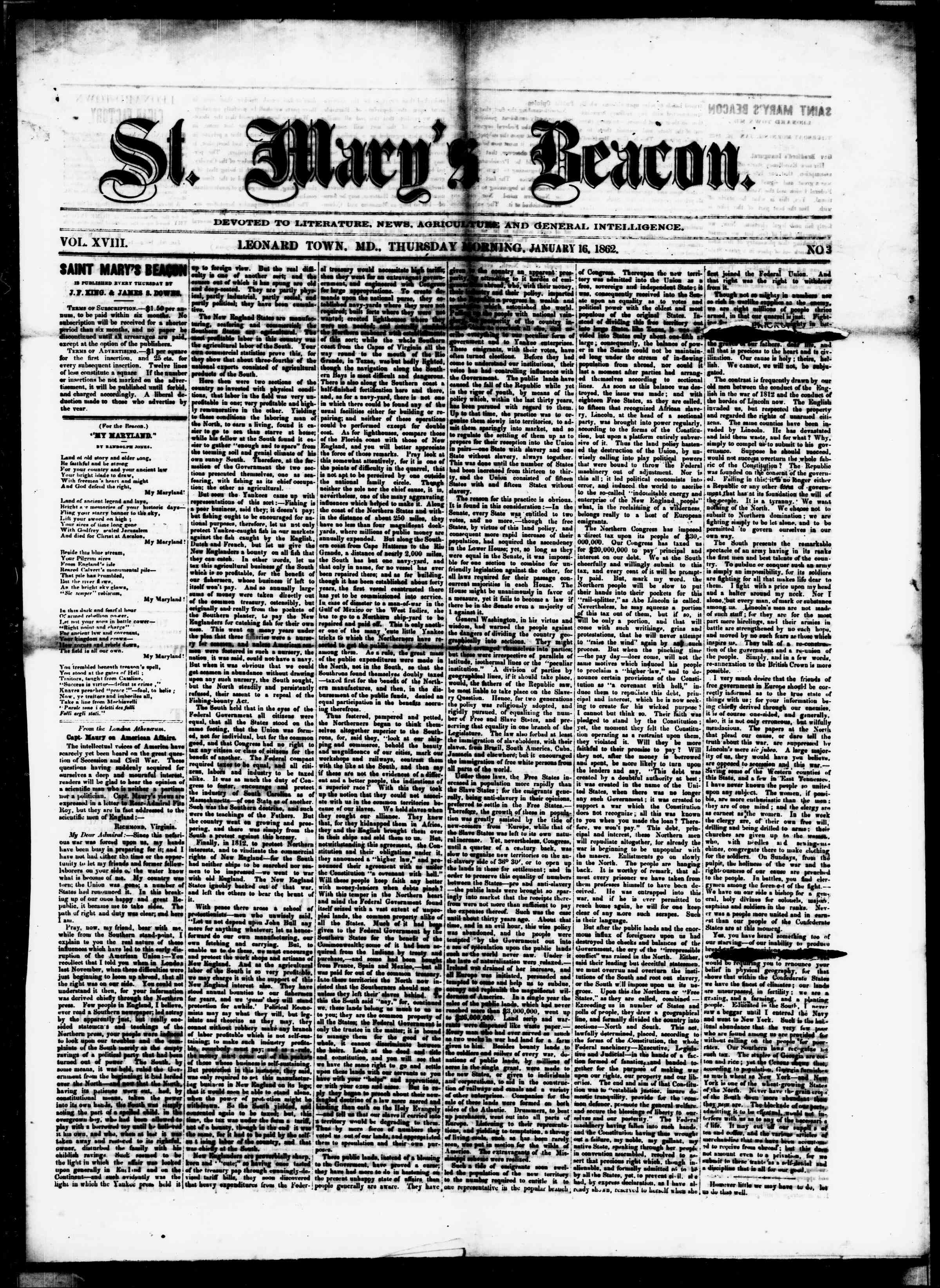 Newspaper of St. Mary's Beacon dated January 16, 1862 Page 1