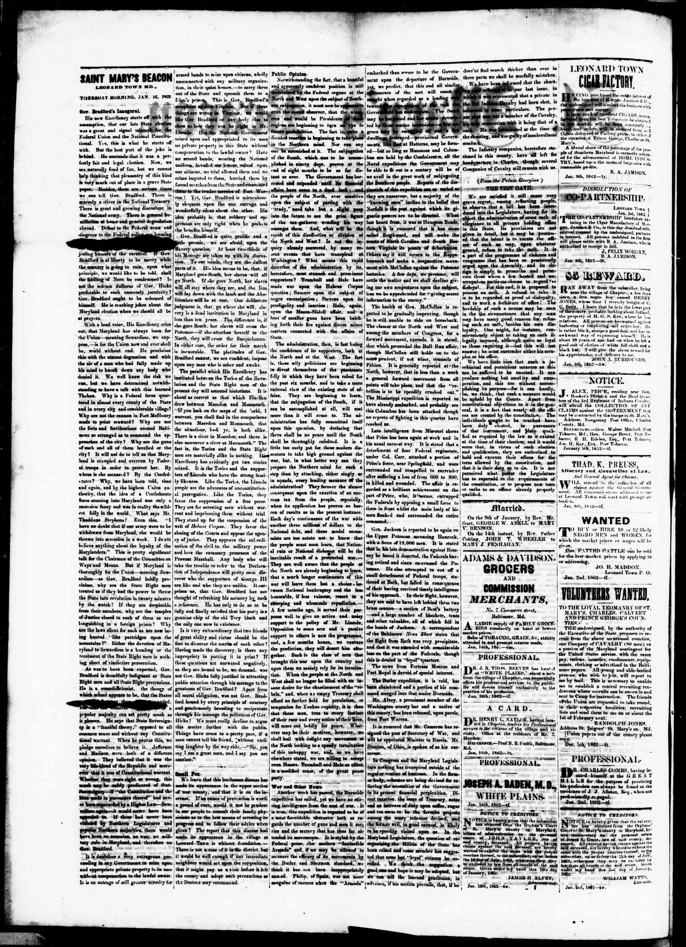 Newspaper of St. Mary's Beacon dated January 16, 1862 Page 2