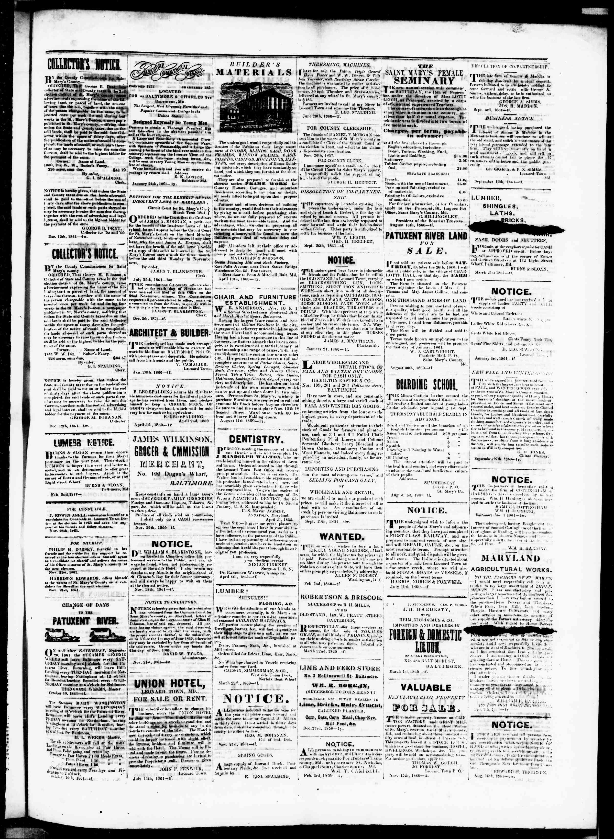 Newspaper of St. Mary's Beacon dated January 16, 1862 Page 3