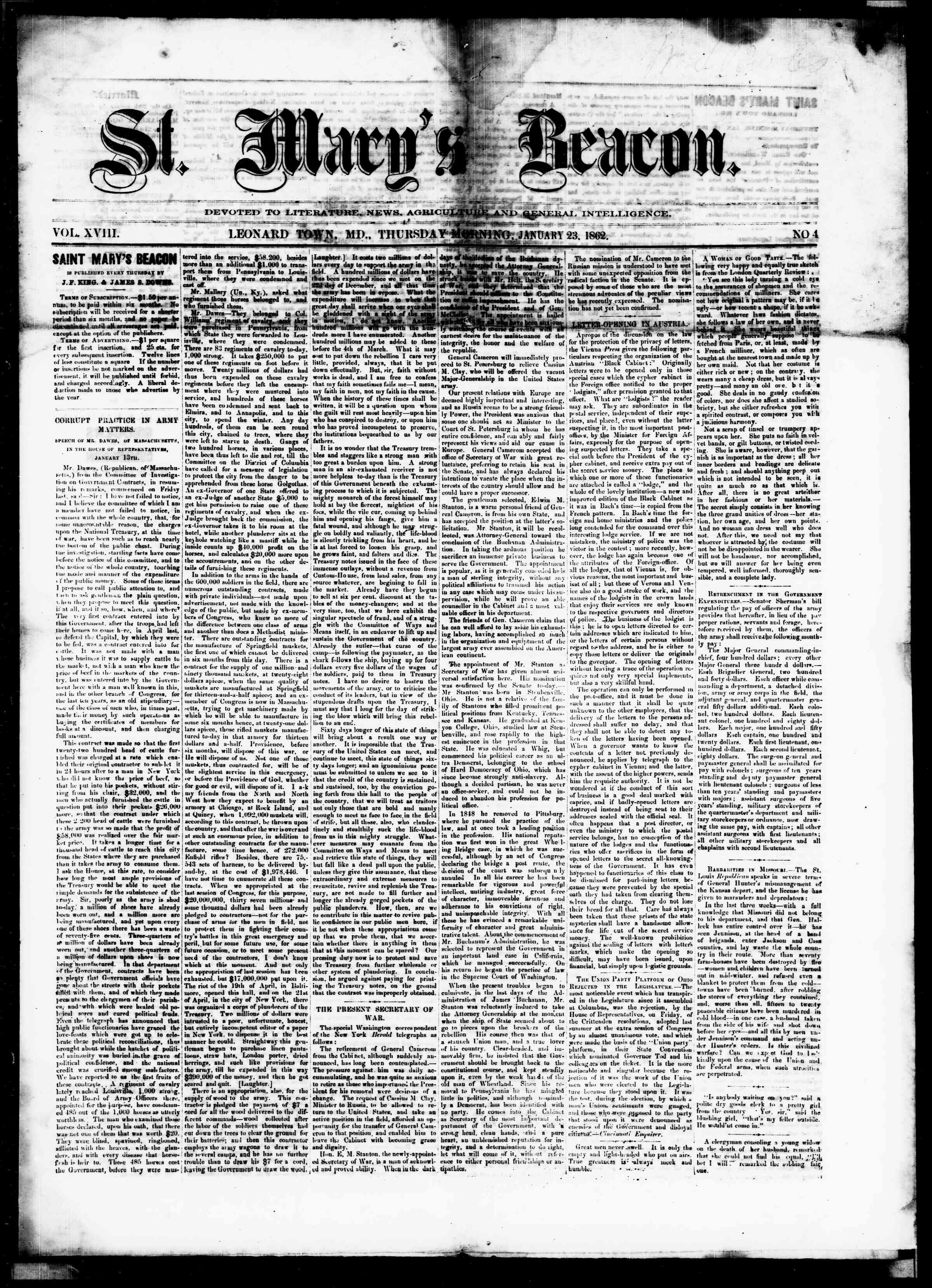 Newspaper of St. Mary's Beacon dated January 23, 1862 Page 1