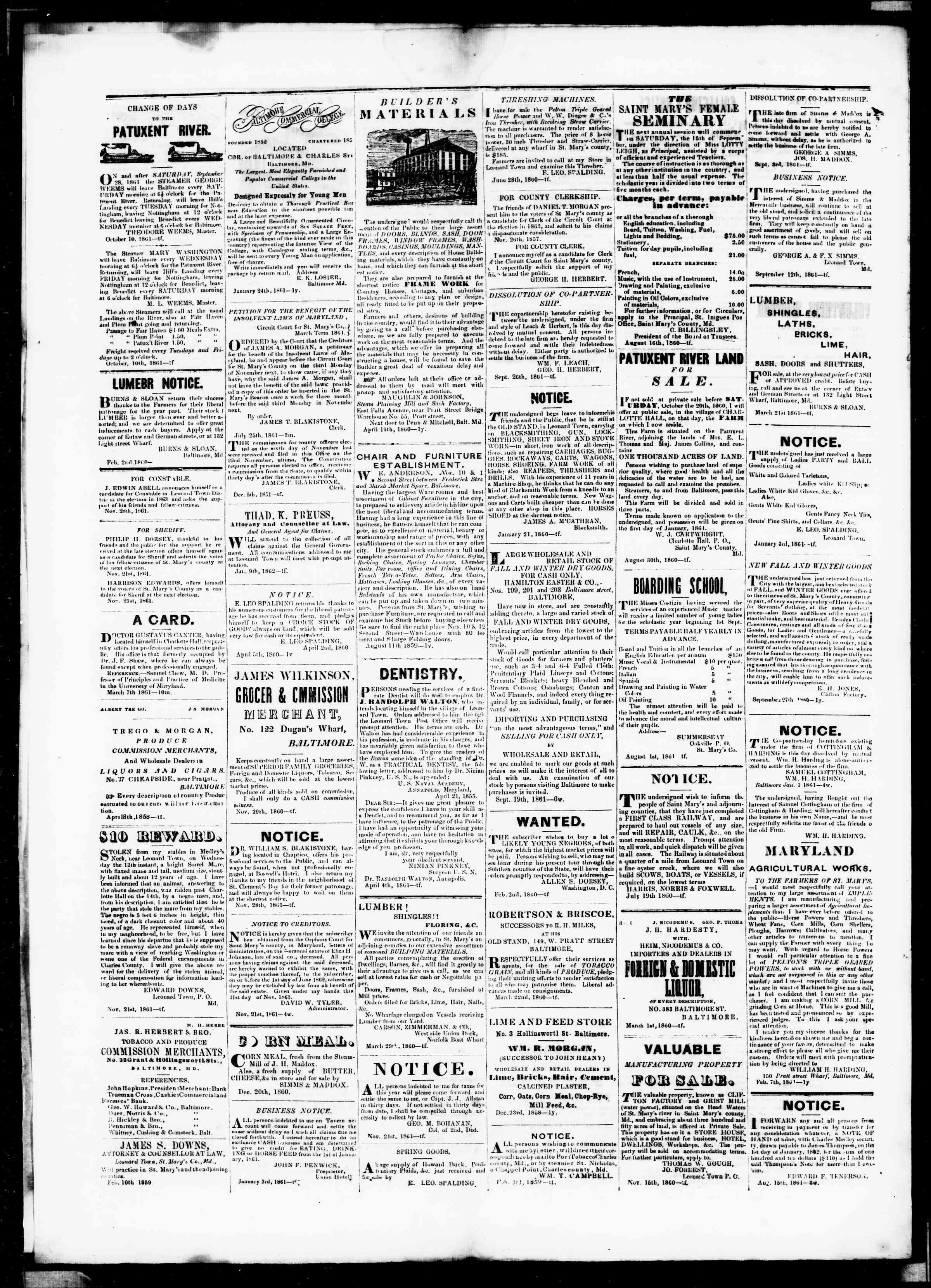 Newspaper of St. Mary's Beacon dated January 23, 1862 Page 4