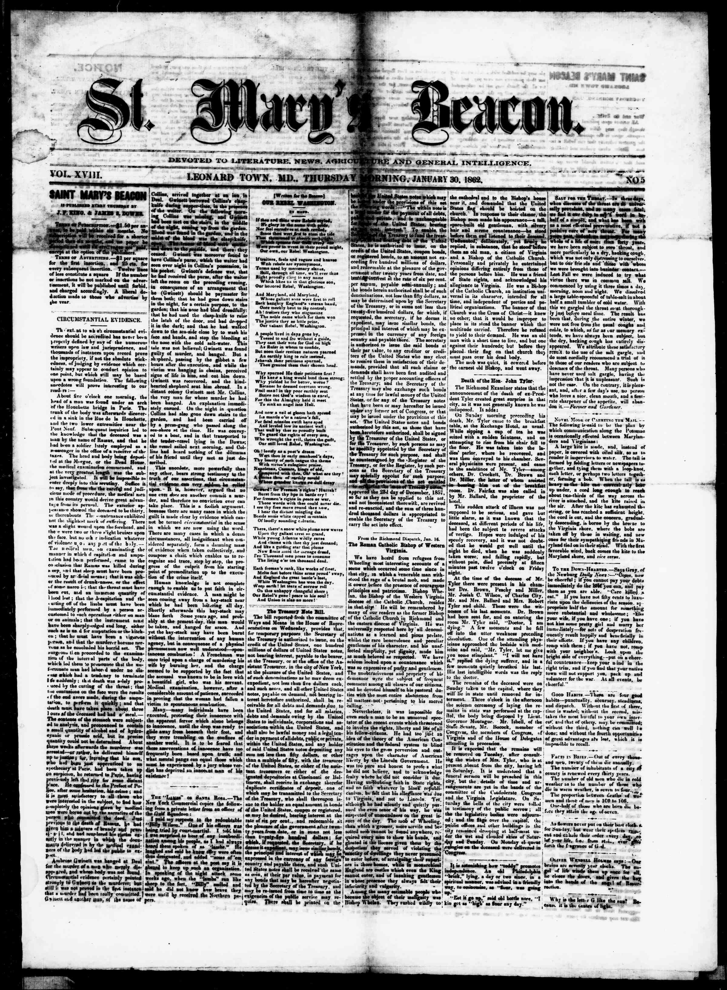 Newspaper of St. Mary's Beacon dated January 30, 1862 Page 1