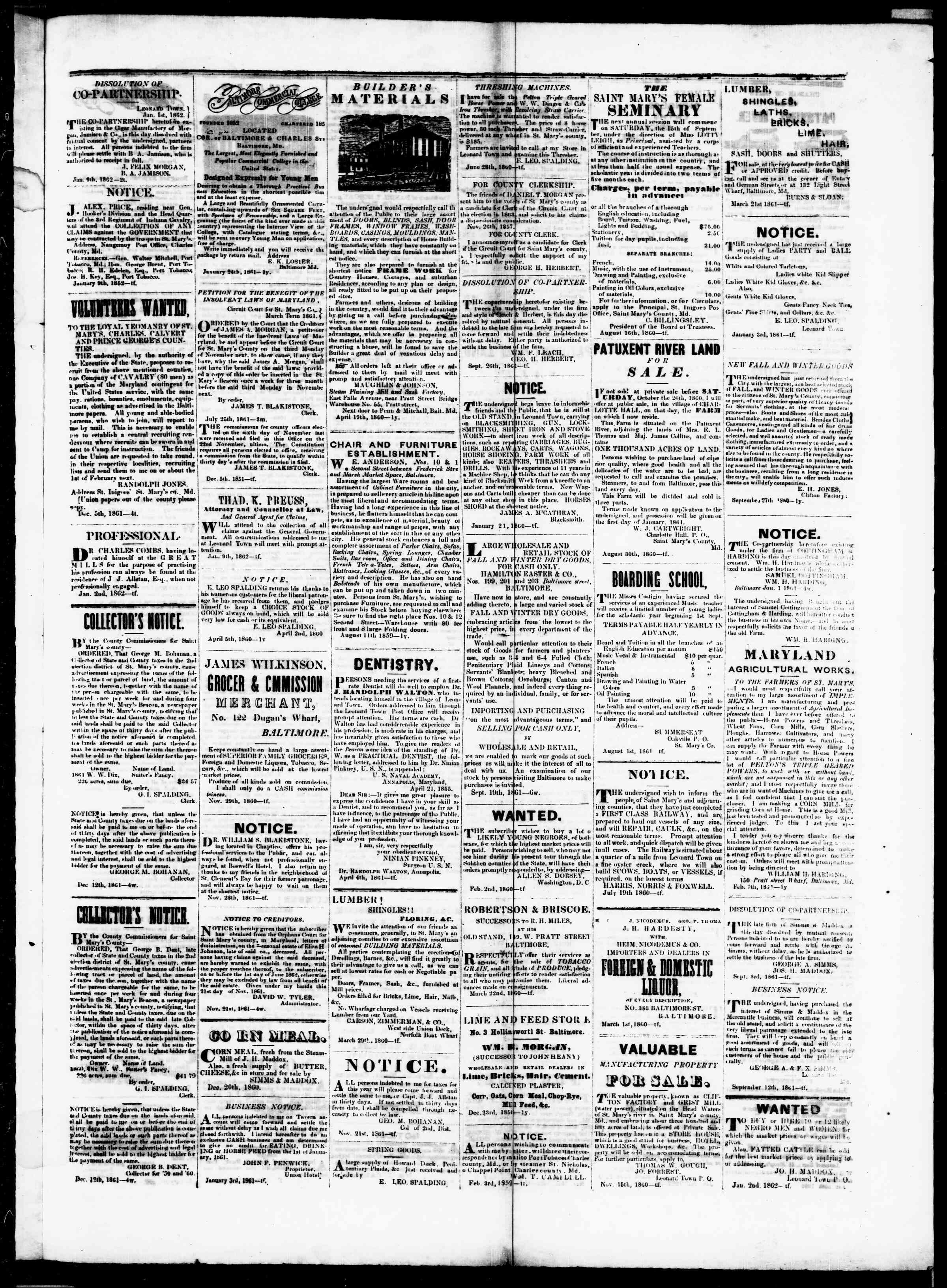 Newspaper of St. Mary's Beacon dated January 30, 1862 Page 3