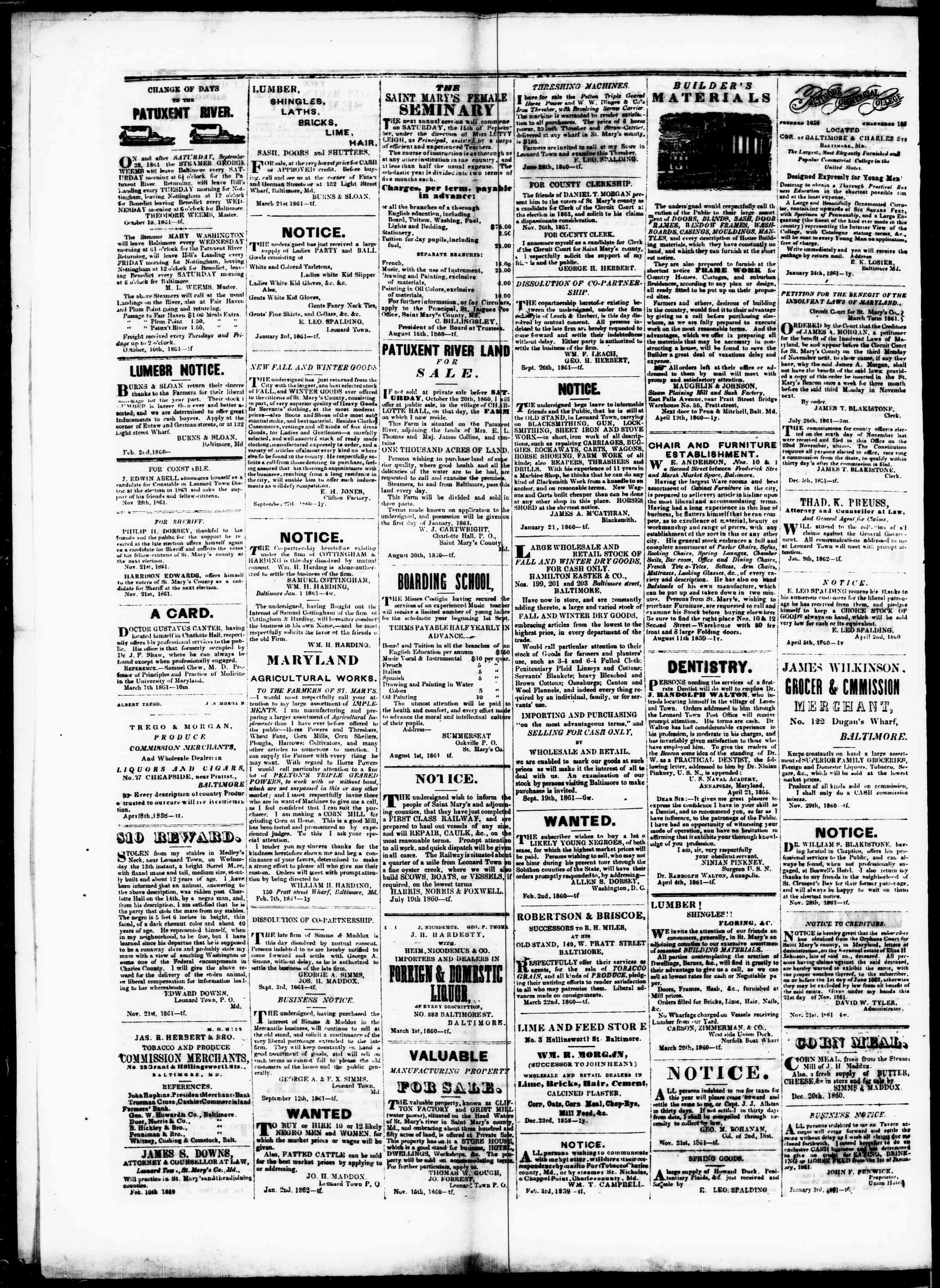 Newspaper of St. Mary's Beacon dated January 30, 1862 Page 4