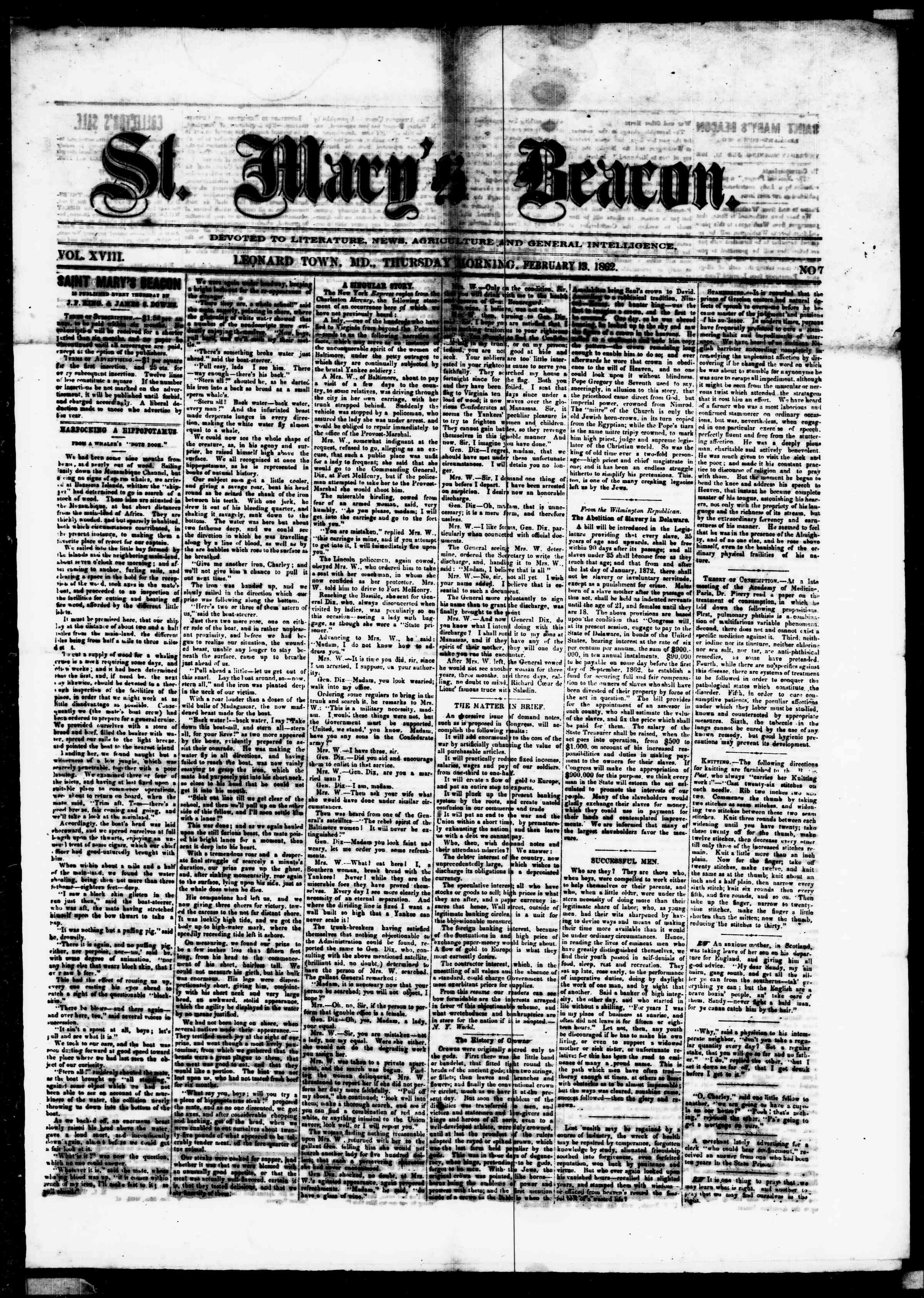 Newspaper of St. Mary's Beacon dated February 13, 1862 Page 1