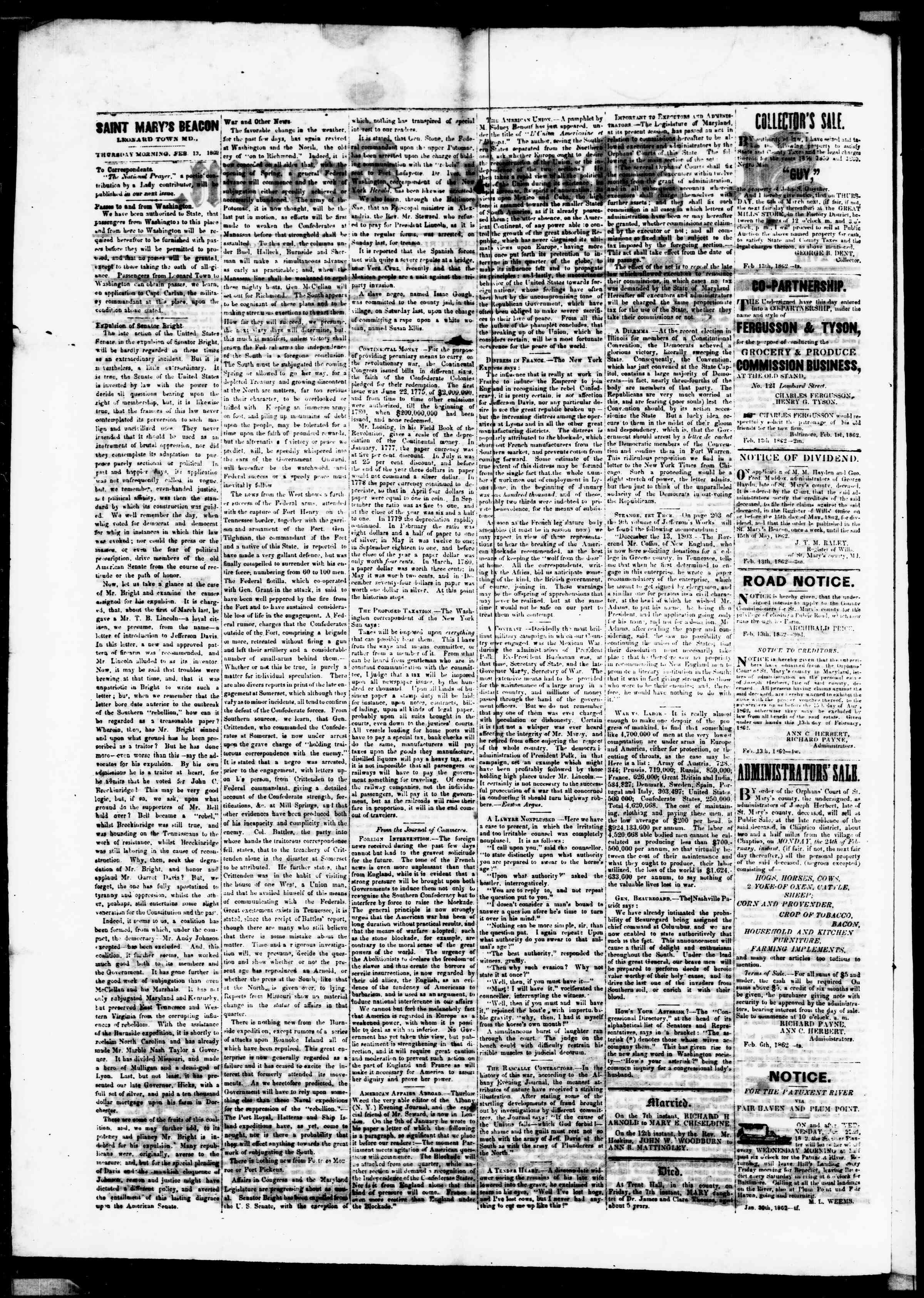 Newspaper of St. Mary's Beacon dated February 13, 1862 Page 2