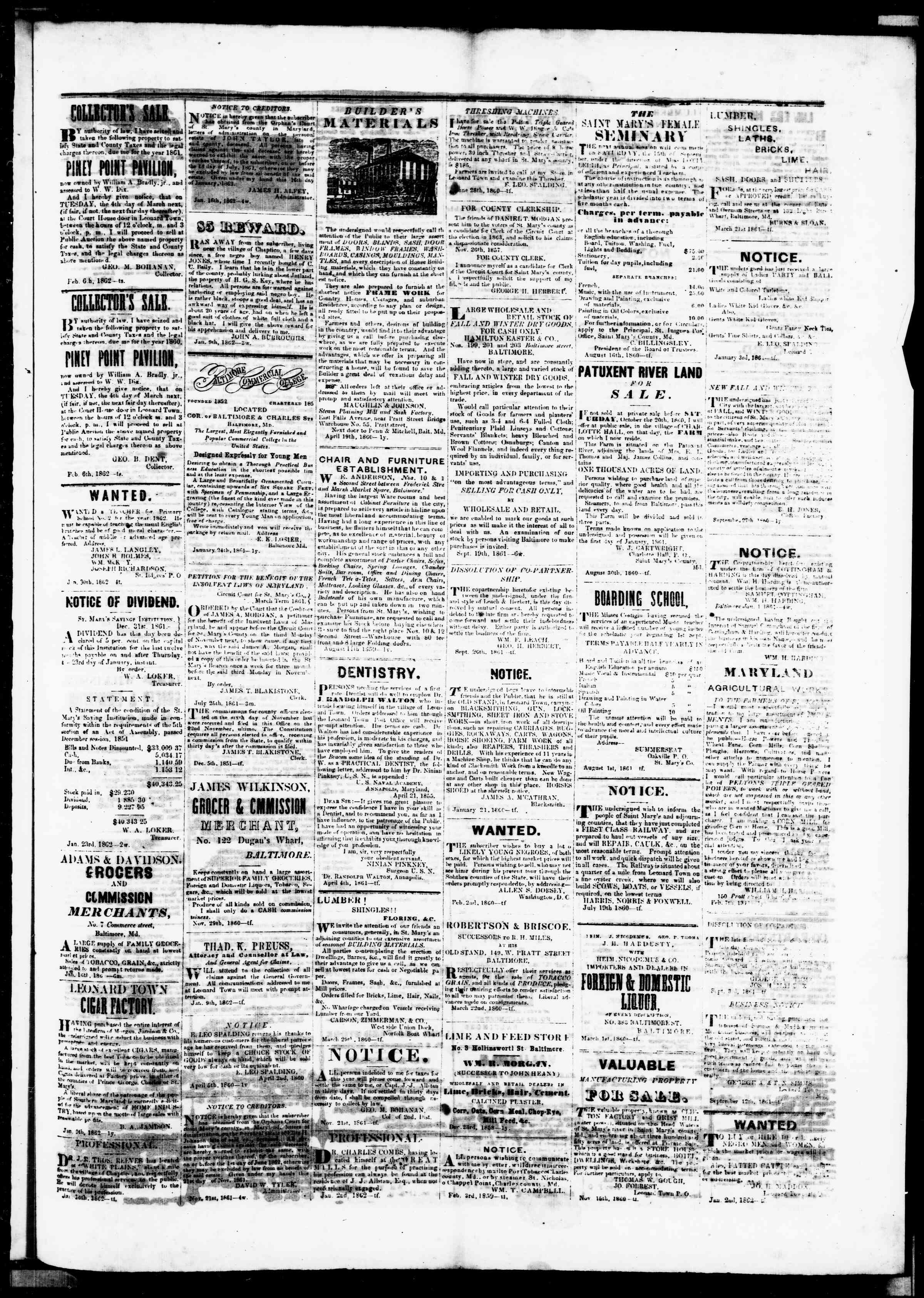 Newspaper of St. Mary's Beacon dated February 13, 1862 Page 3