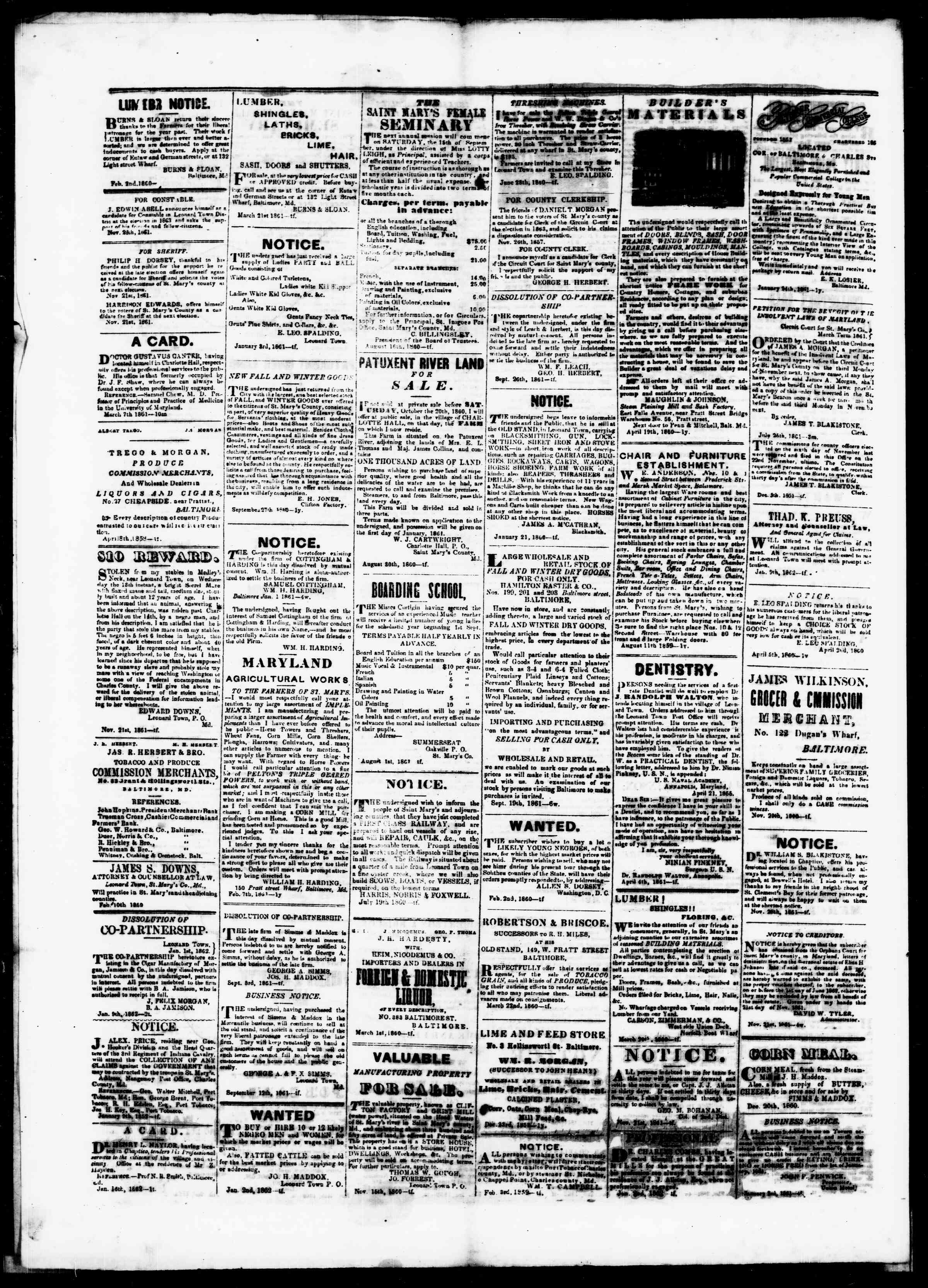 Newspaper of St. Mary's Beacon dated February 13, 1862 Page 4