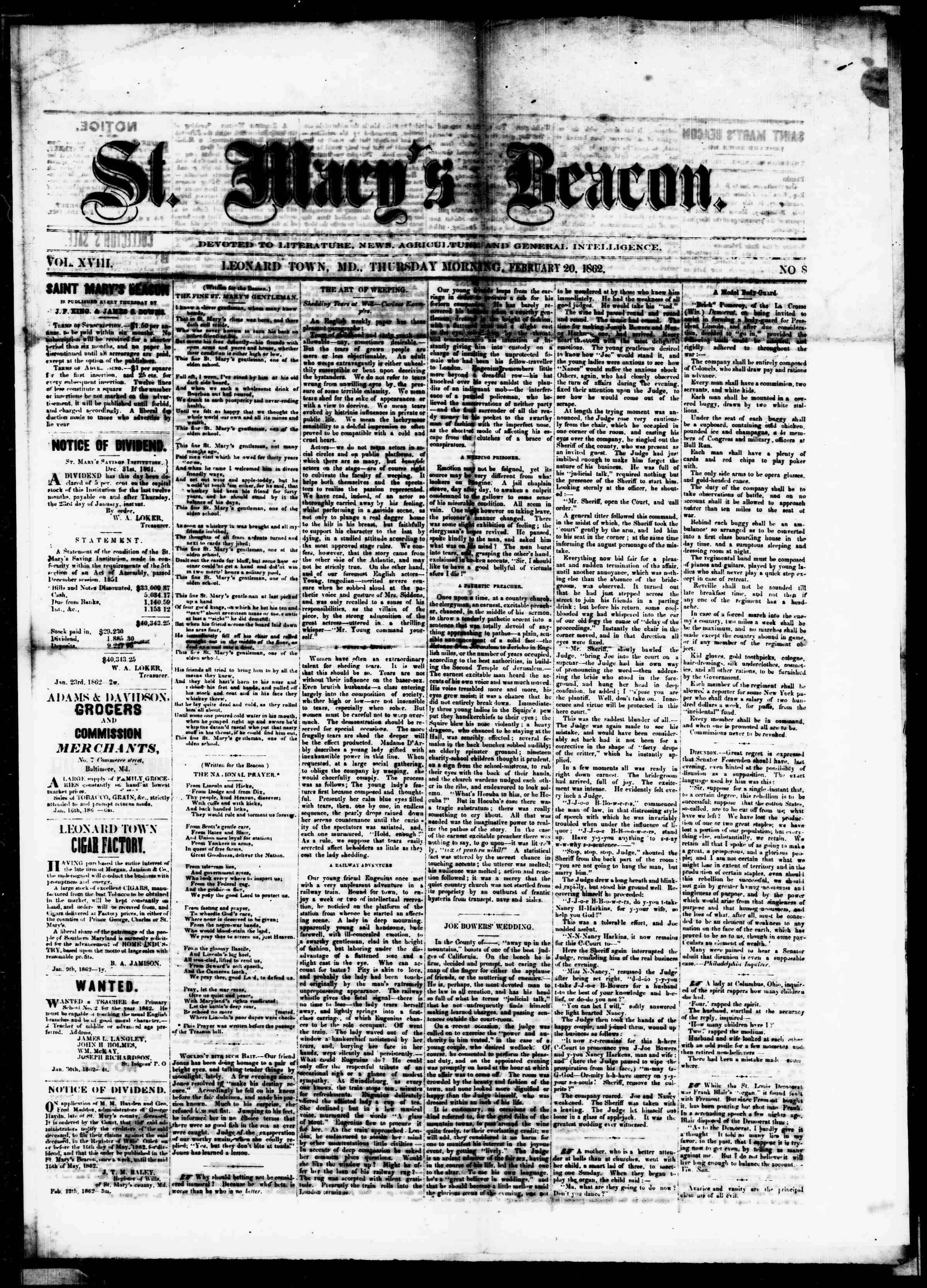 Newspaper of St. Mary's Beacon dated February 20, 1862 Page 1