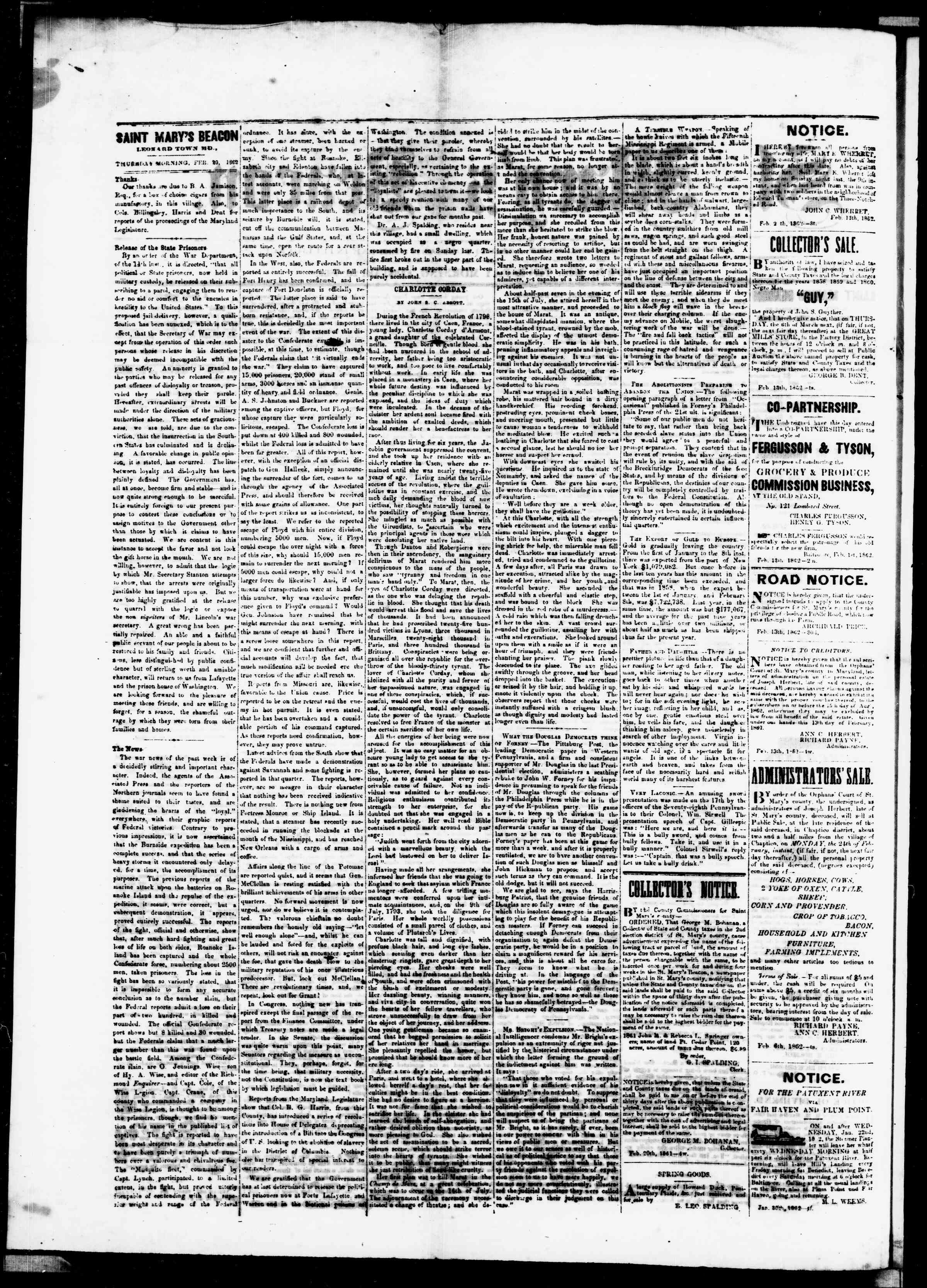 Newspaper of St. Mary's Beacon dated February 20, 1862 Page 2