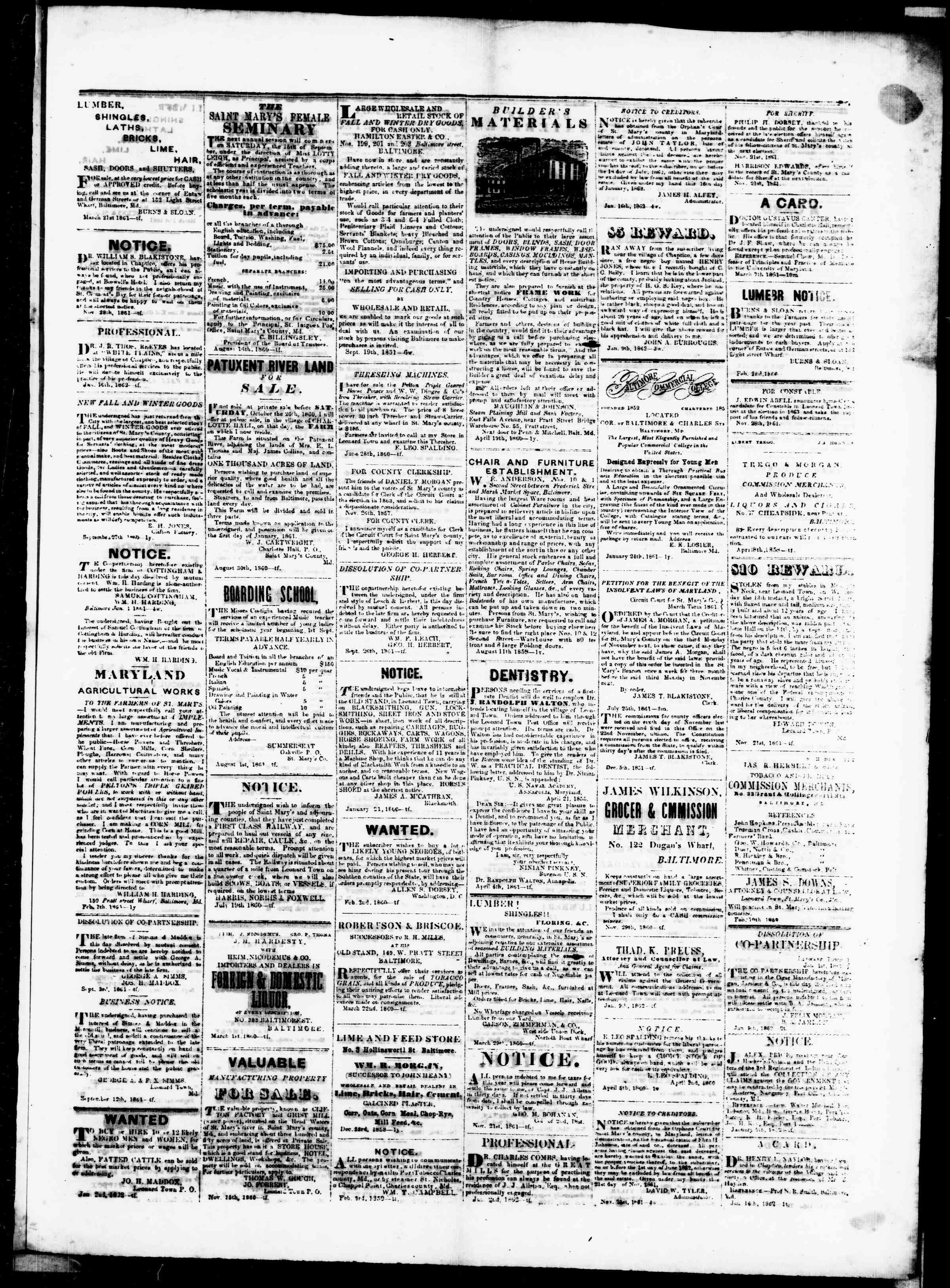 Newspaper of St. Mary's Beacon dated February 20, 1862 Page 3