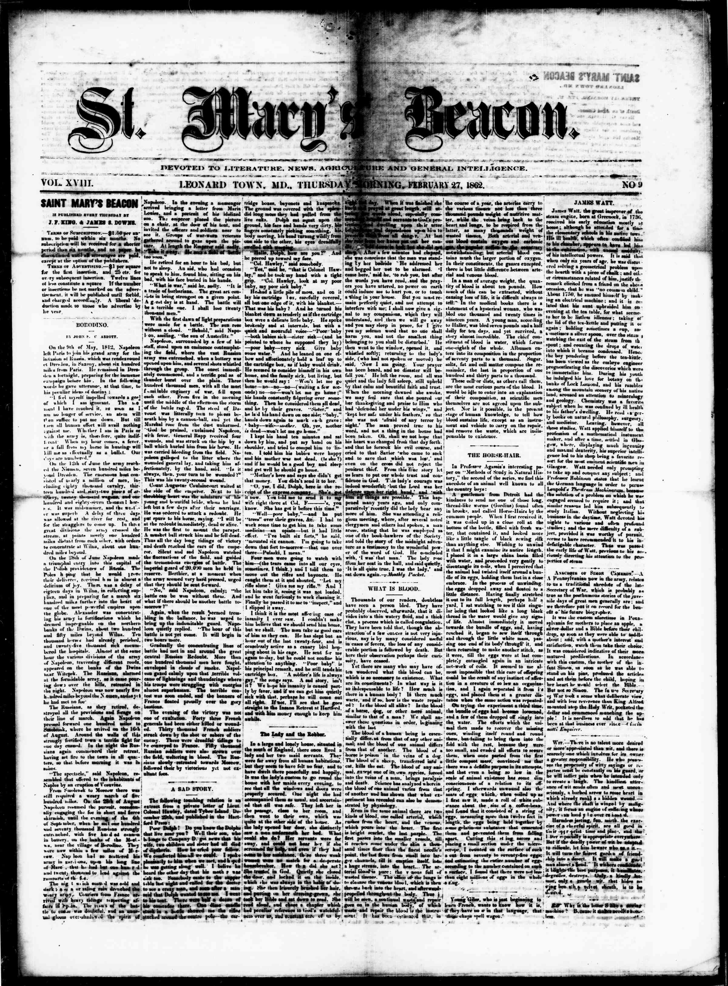 Newspaper of St. Mary's Beacon dated February 27, 1862 Page 1