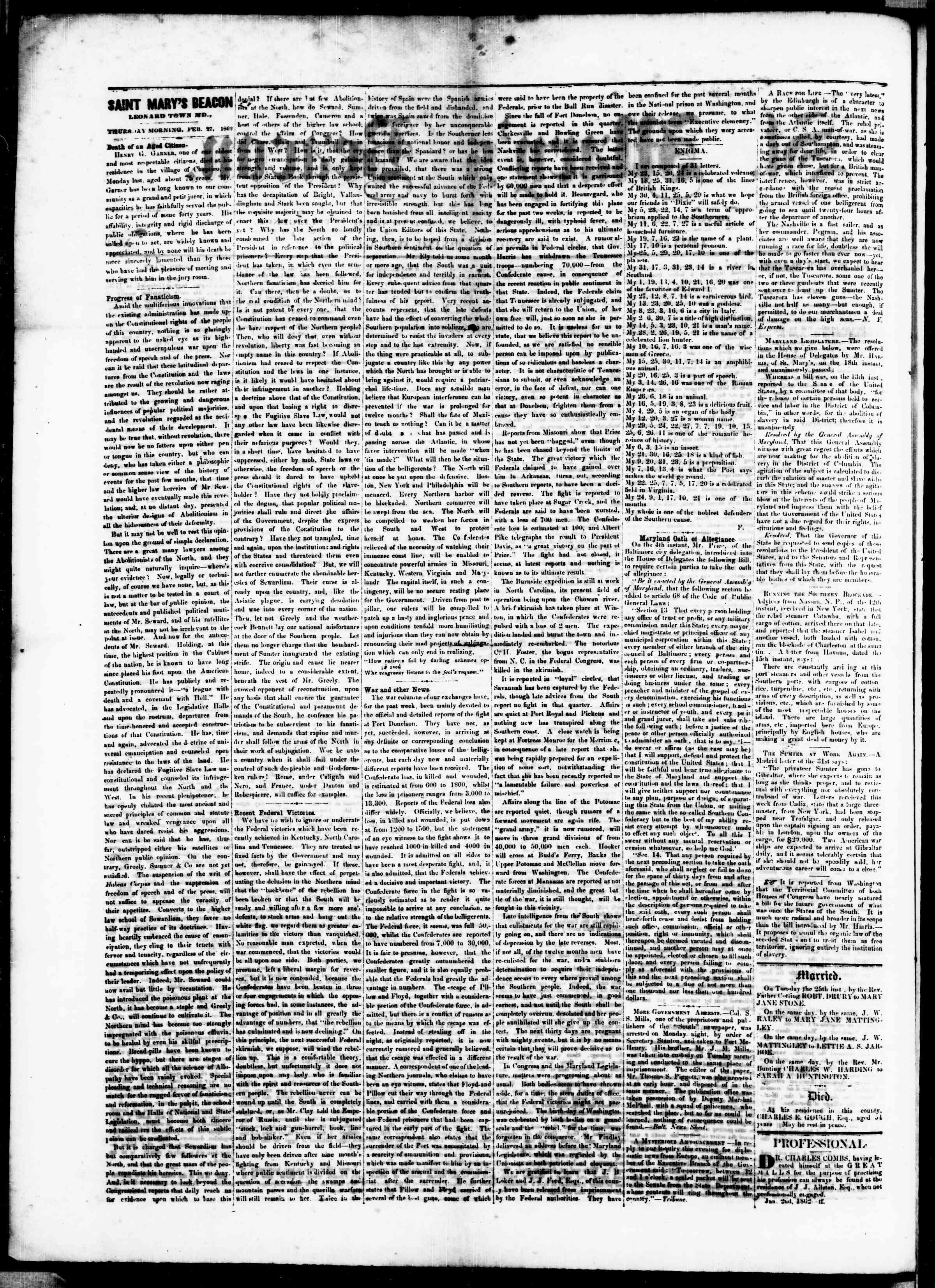 Newspaper of St. Mary's Beacon dated 27 Şubat 1862 Page 2