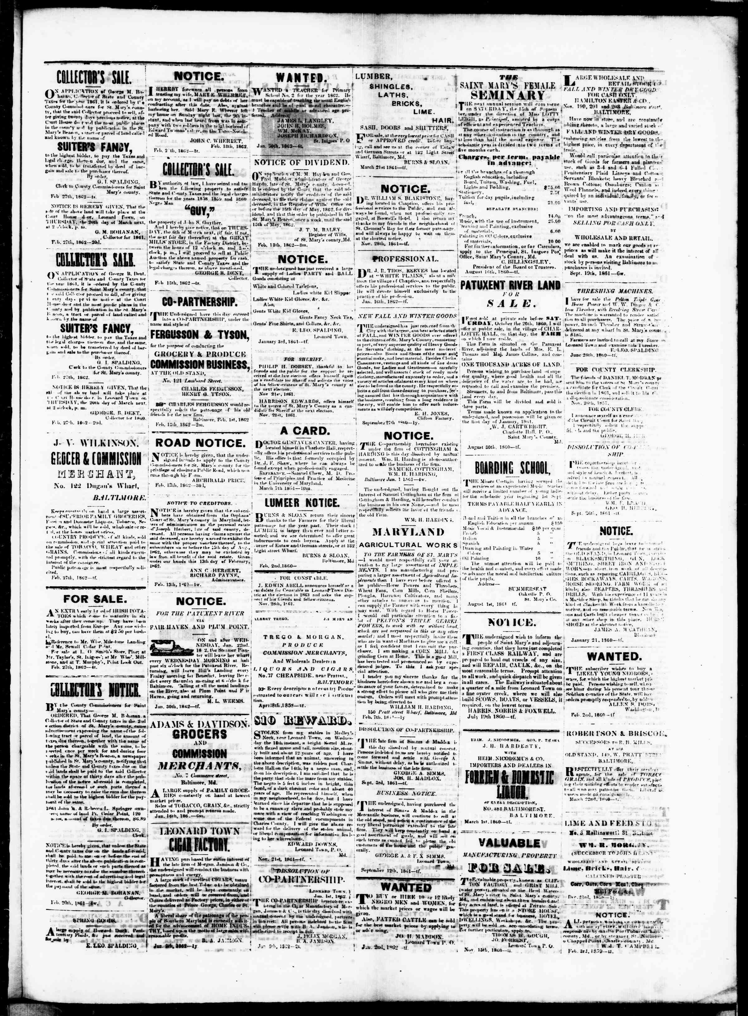 Newspaper of St. Mary's Beacon dated February 27, 1862 Page 3