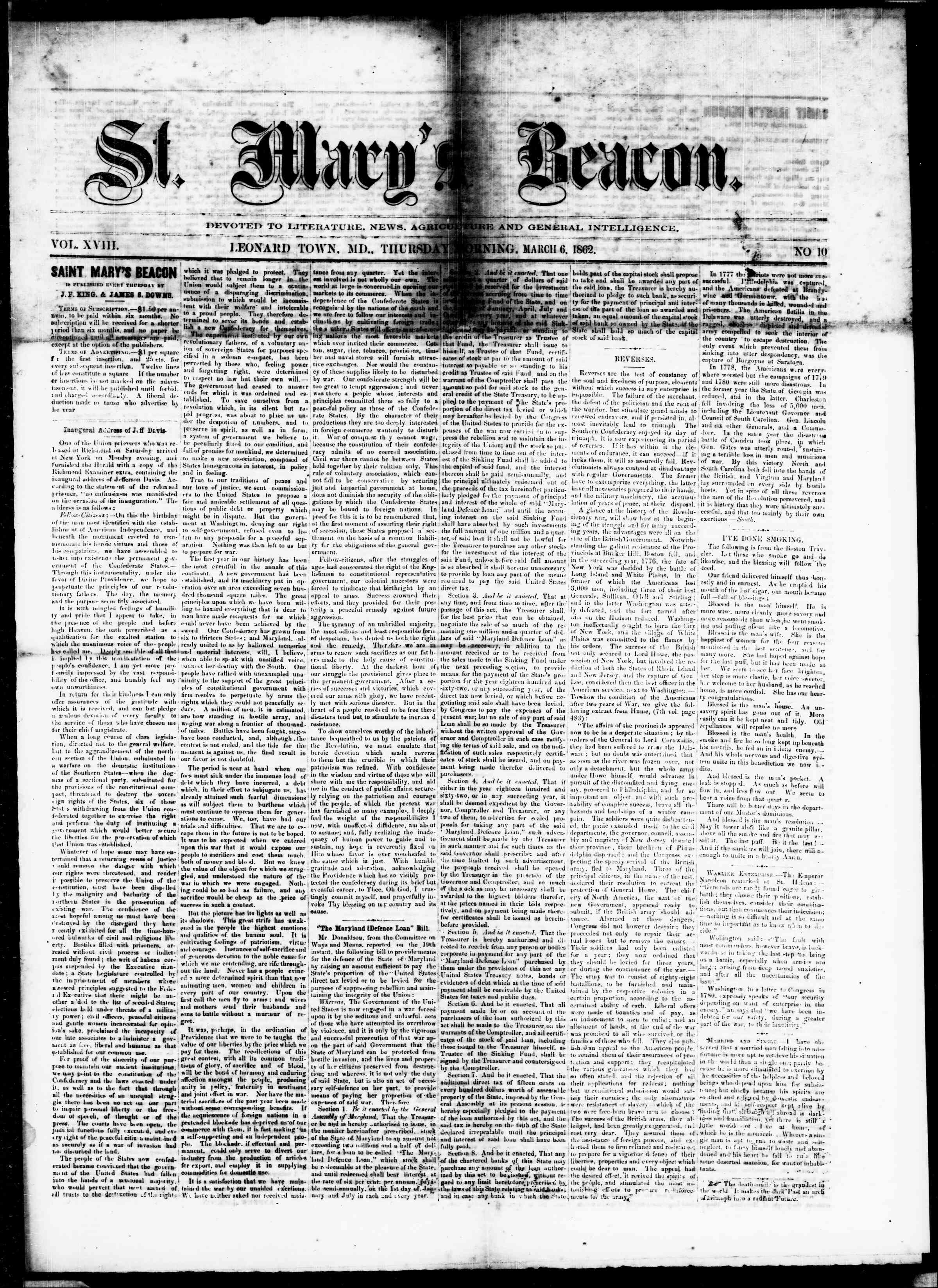 6 Mart 1862 tarihli St. Mary's Beacon Gazetesi Sayfa 1