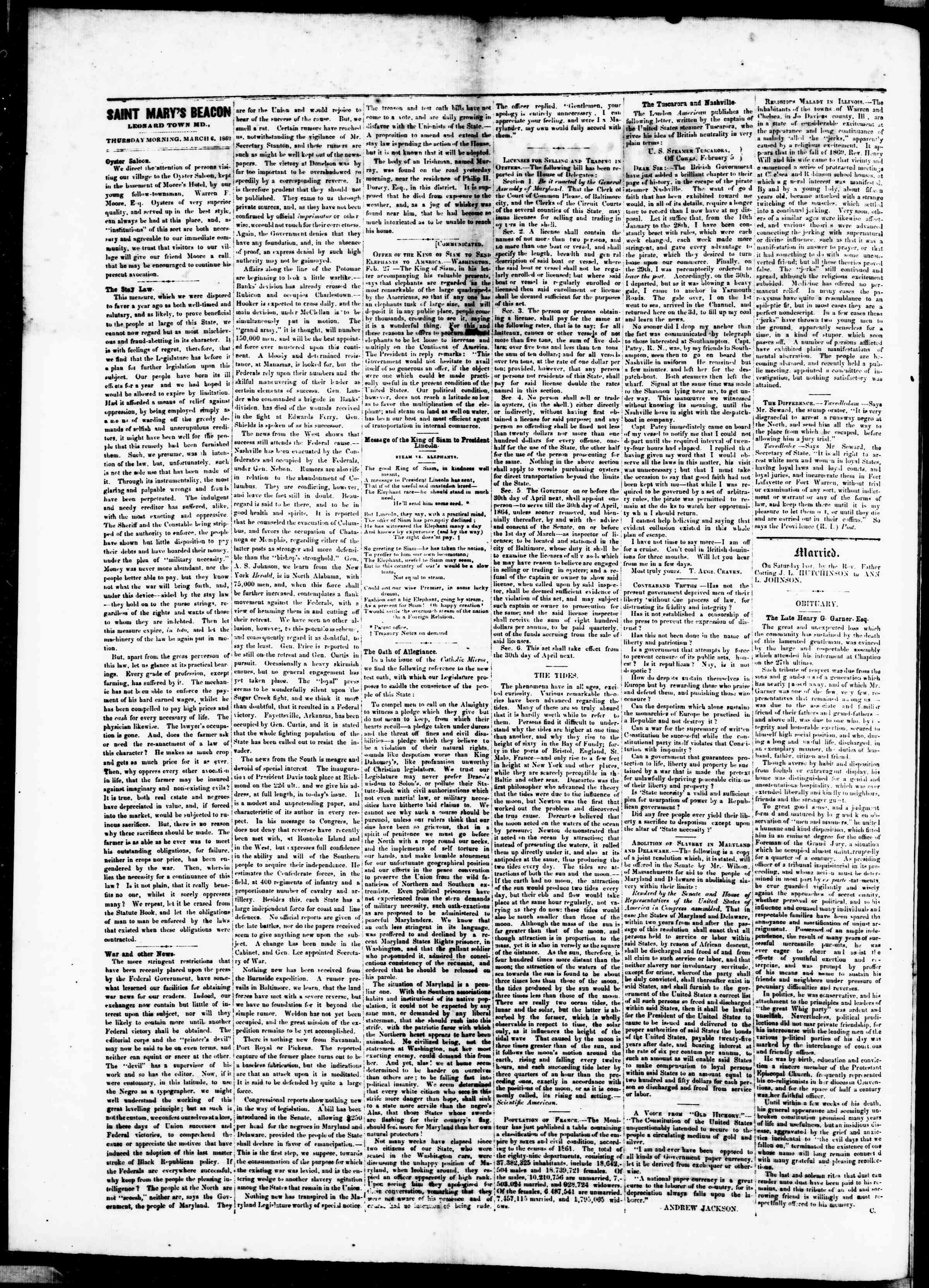 Newspaper of St. Mary's Beacon dated 6 Mart 1862 Page 2