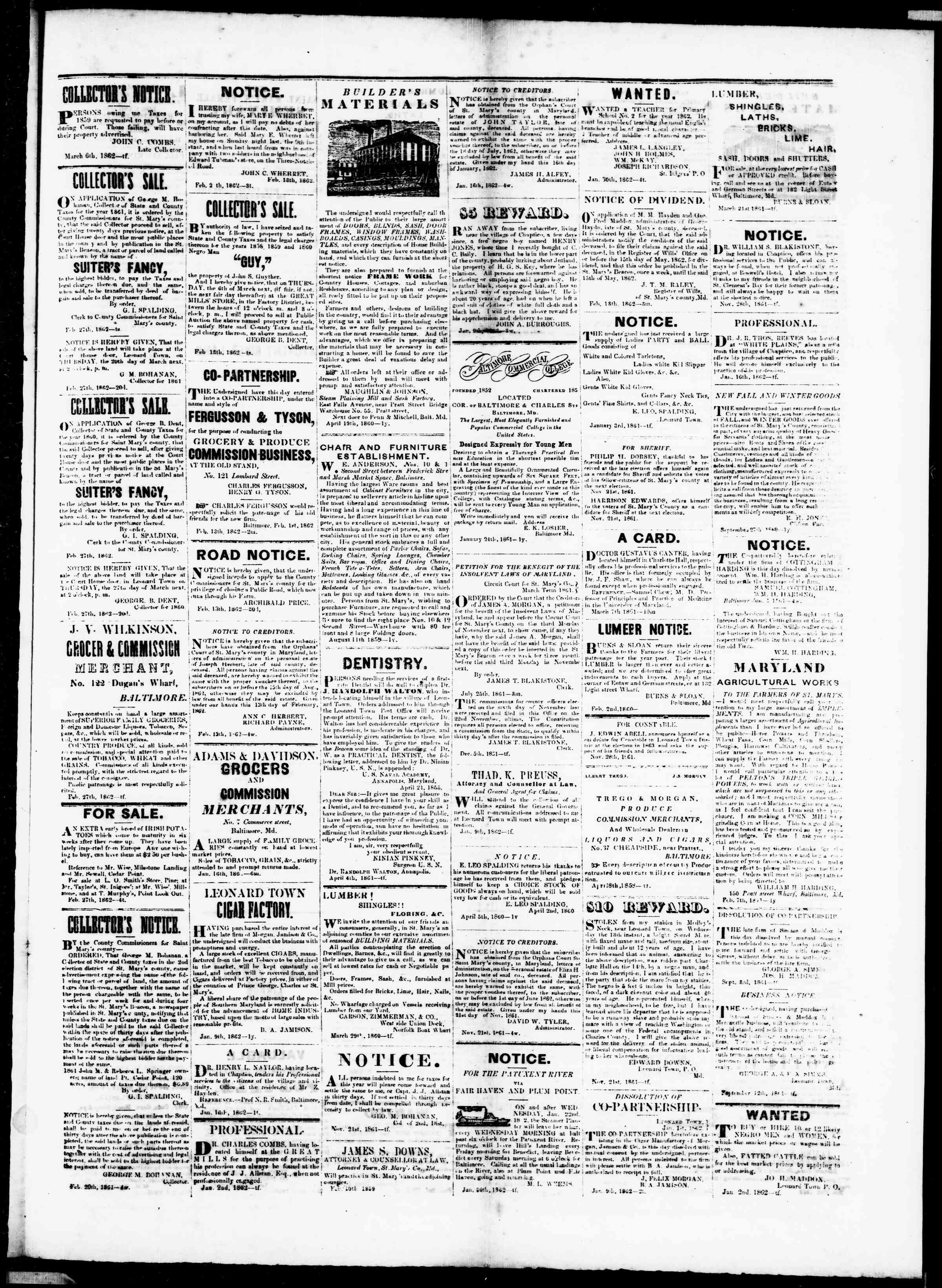 Newspaper of St. Mary's Beacon dated March 6, 1862 Page 3