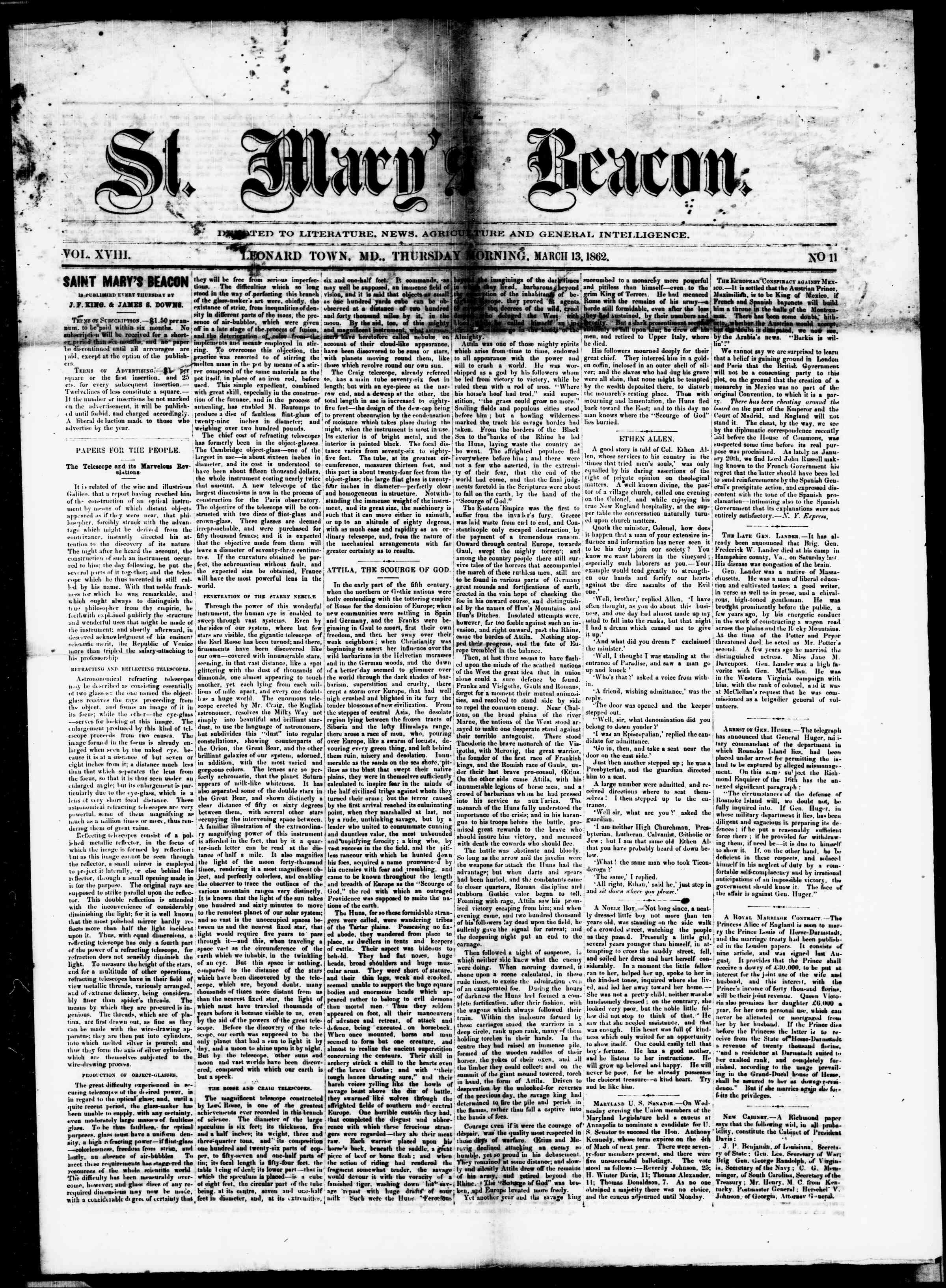 Newspaper of St. Mary's Beacon dated March 13, 1862 Page 1
