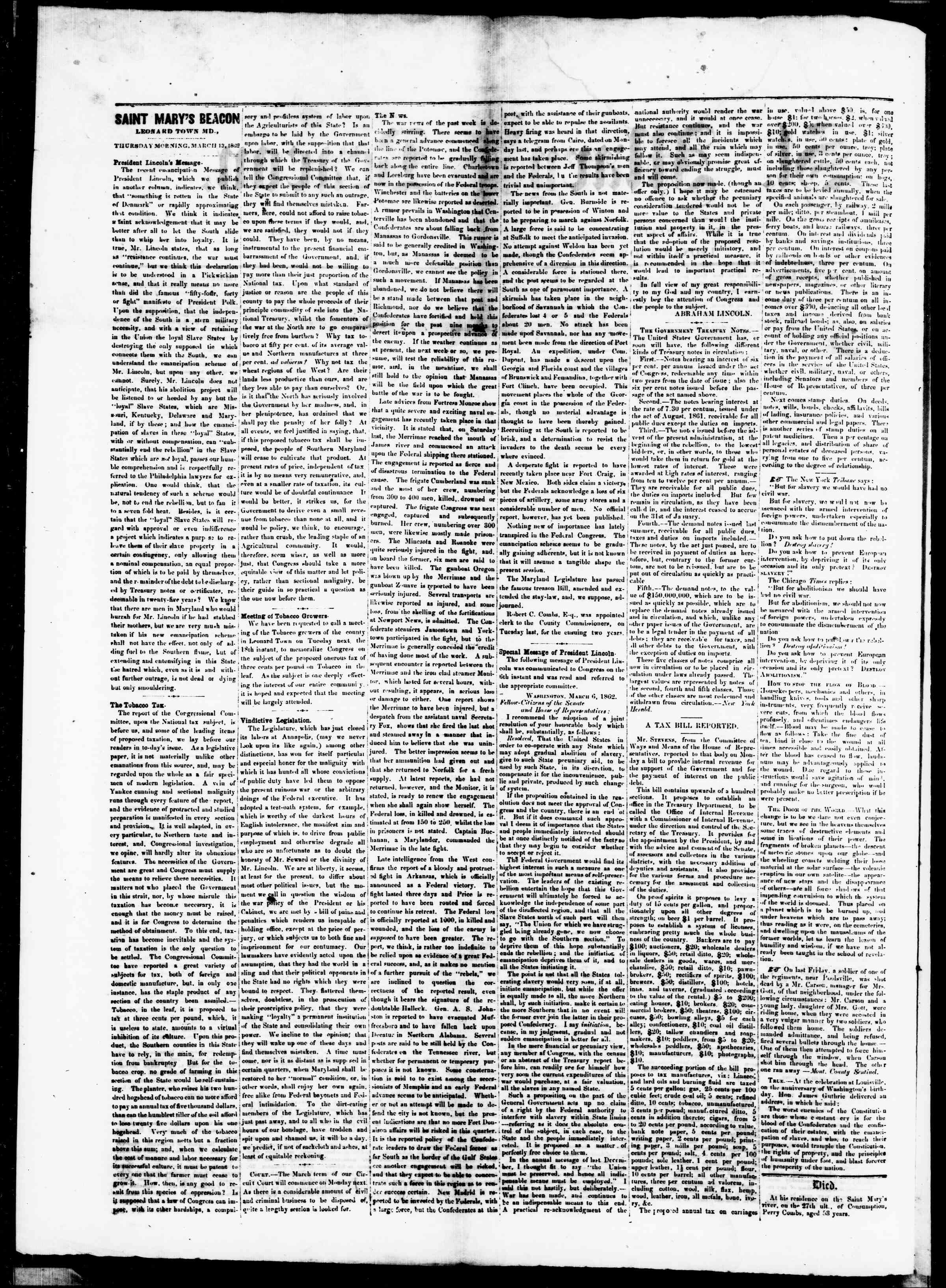 Newspaper of St. Mary's Beacon dated March 13, 1862 Page 2