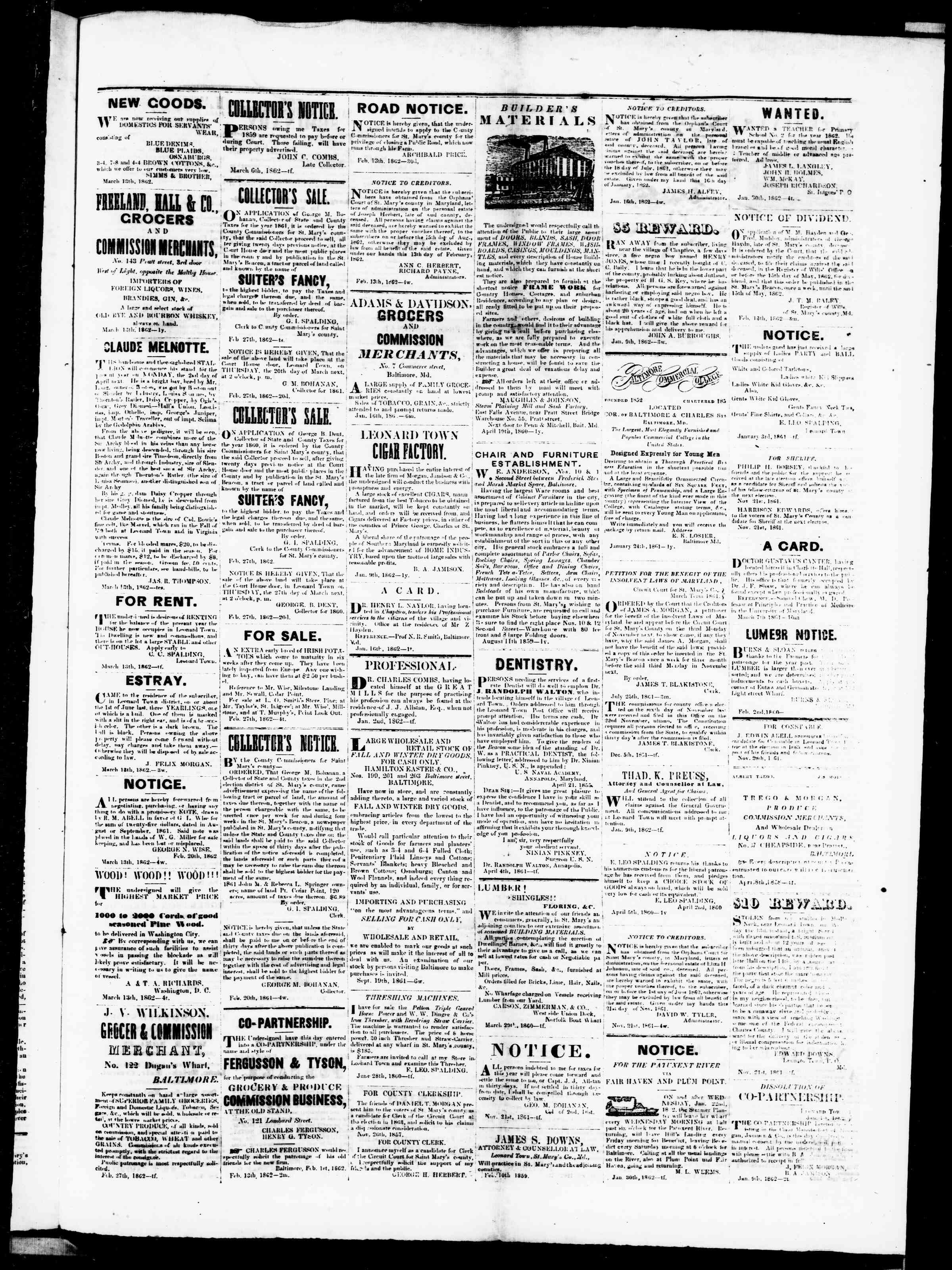 Newspaper of St. Mary's Beacon dated March 13, 1862 Page 3