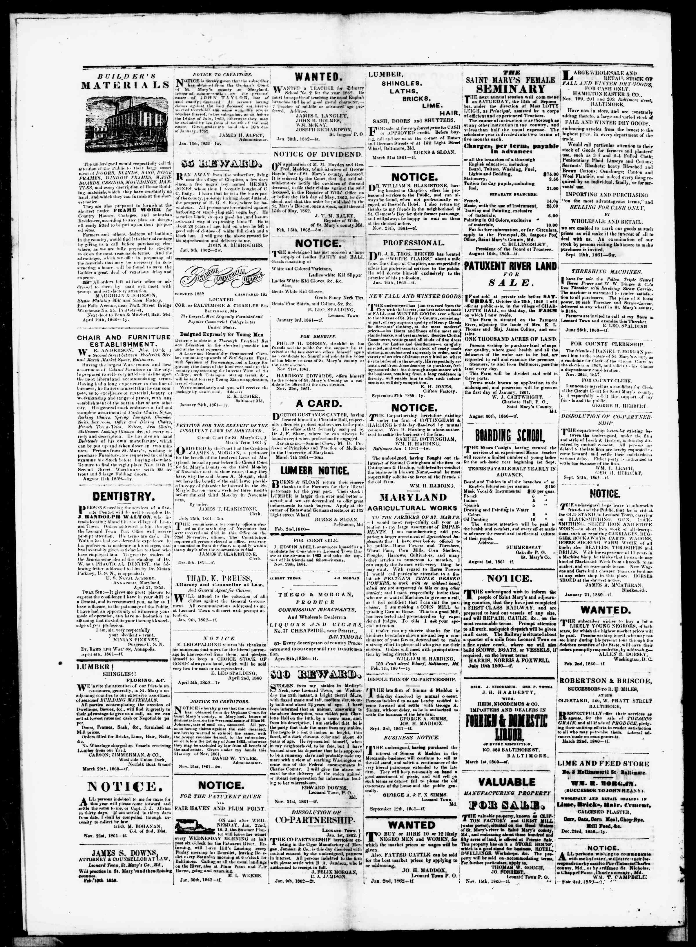 Newspaper of St. Mary's Beacon dated March 13, 1862 Page 4