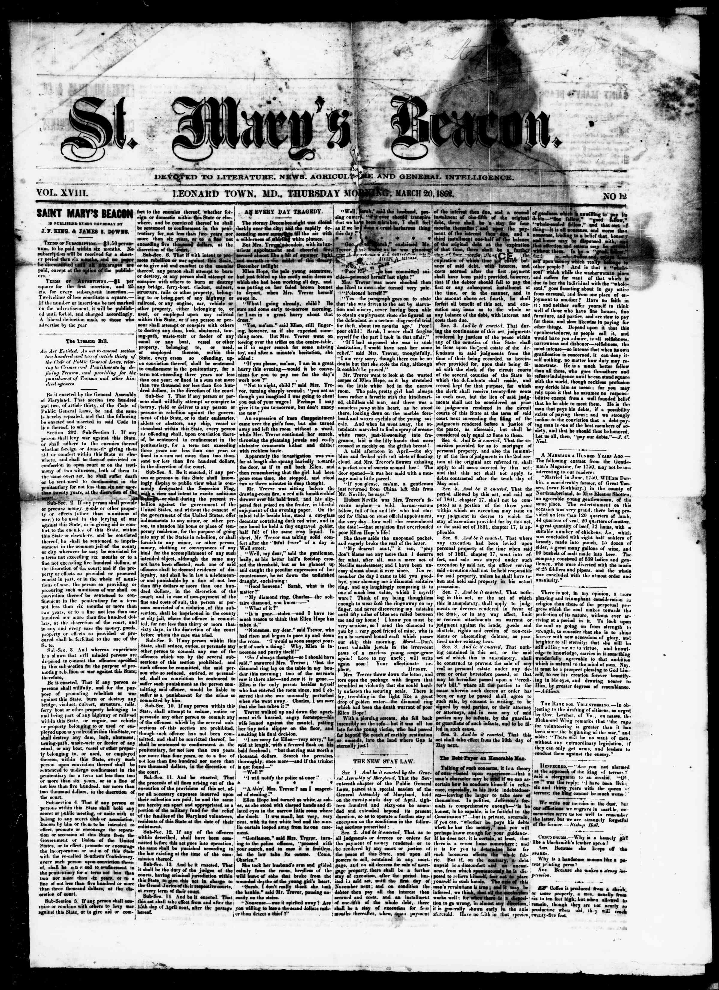 Newspaper of St. Mary's Beacon dated March 20, 1862 Page 1