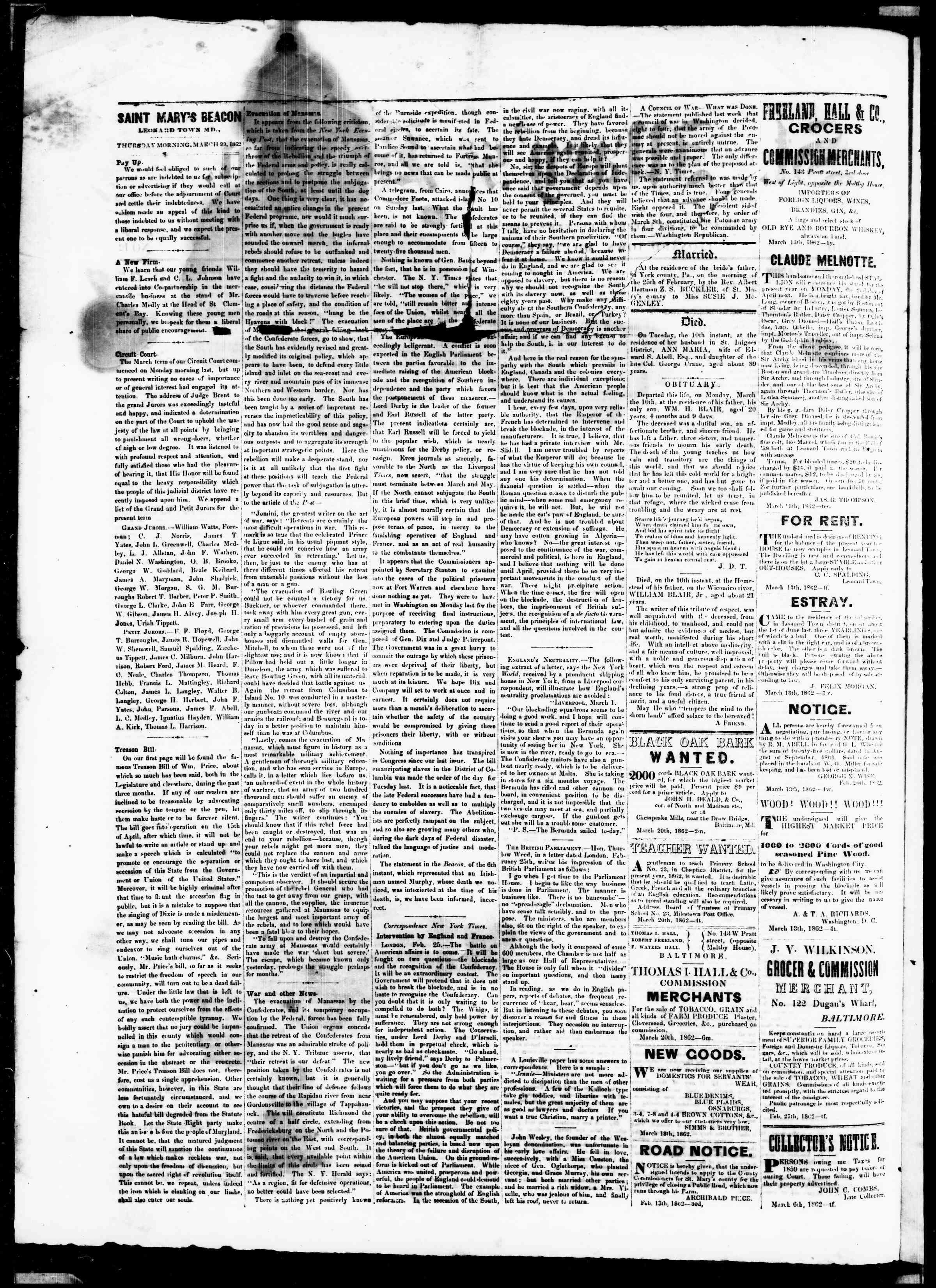 Newspaper of St. Mary's Beacon dated March 20, 1862 Page 2