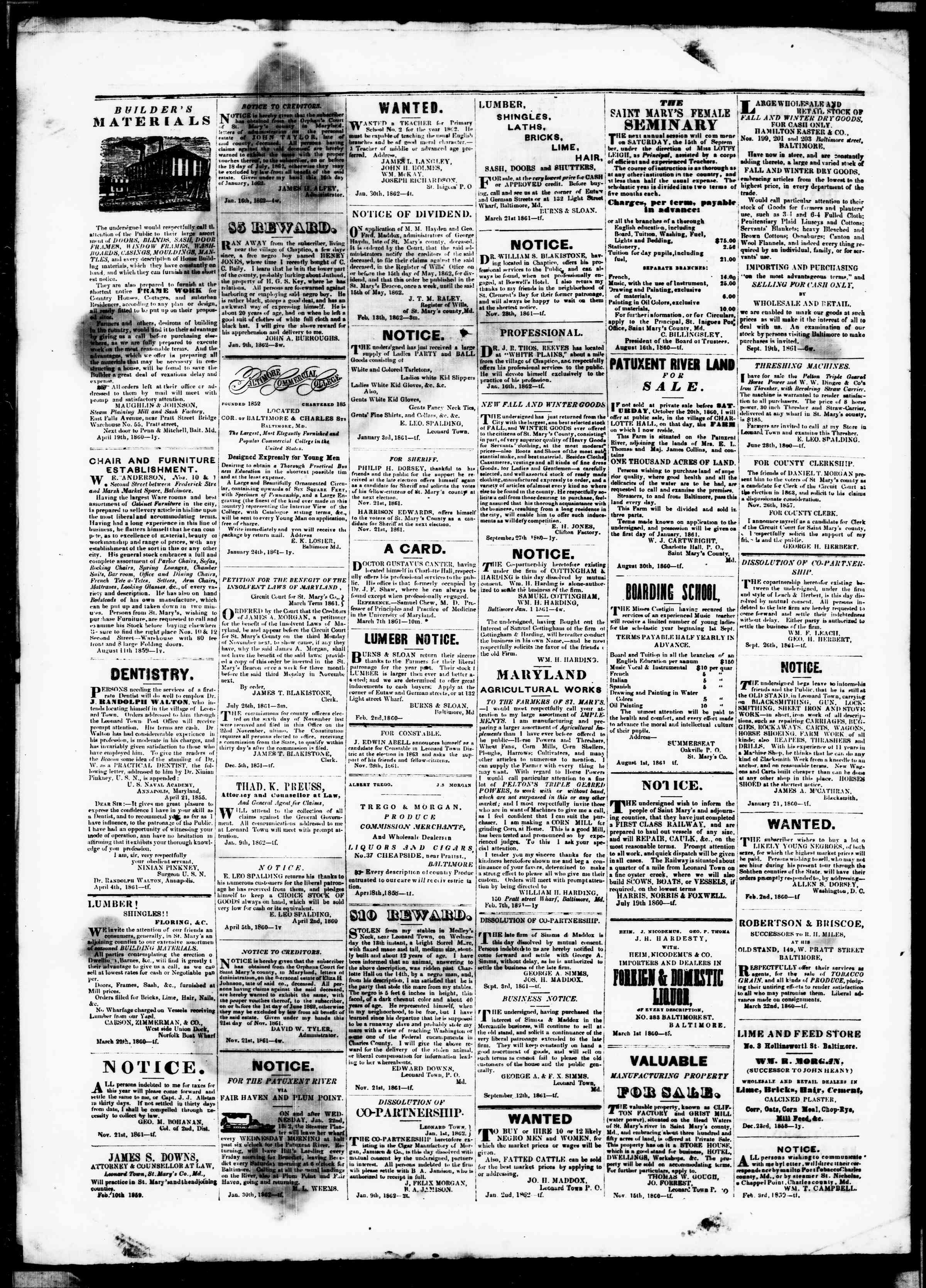 Newspaper of St. Mary's Beacon dated March 20, 1862 Page 4