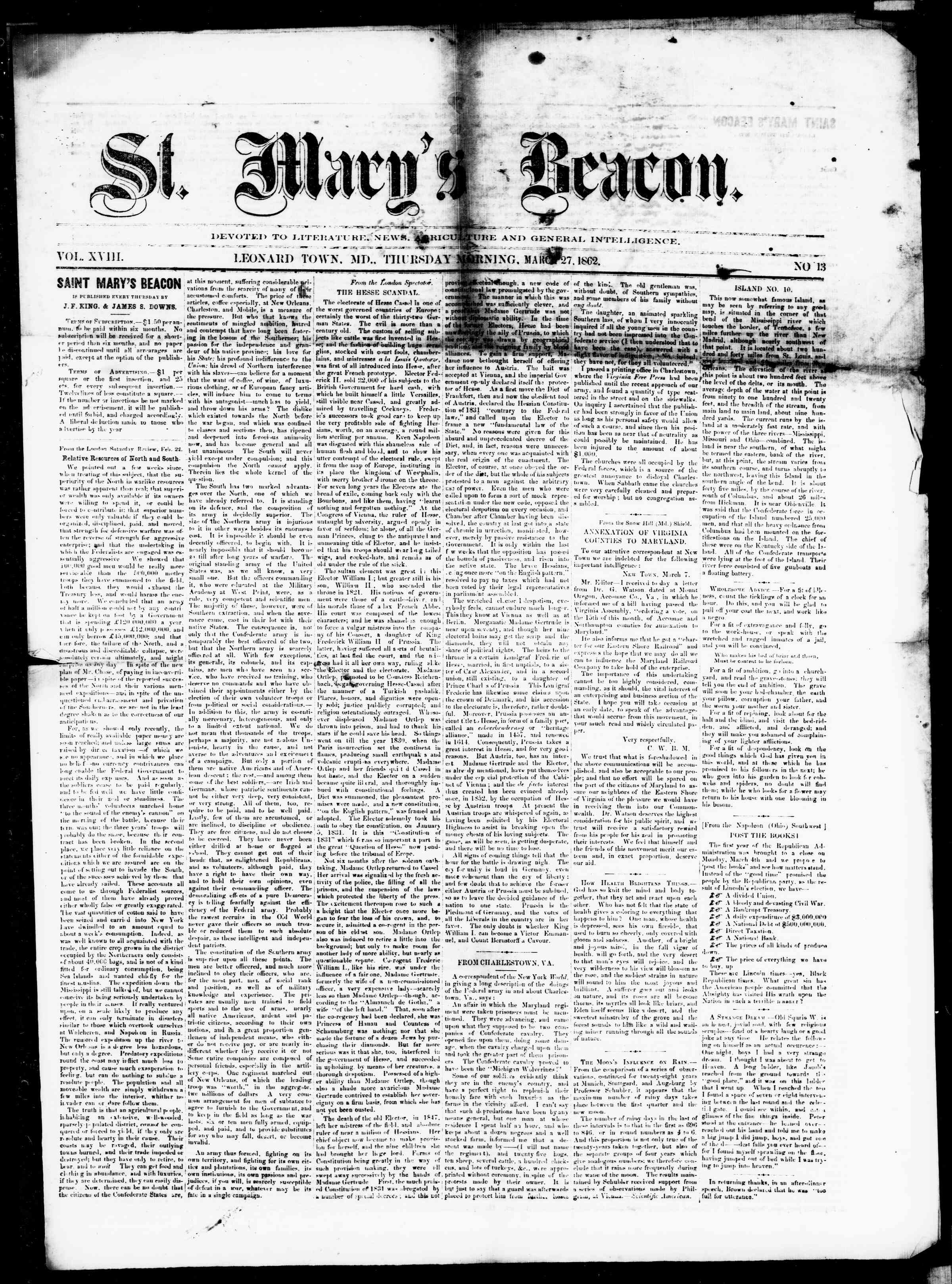 Newspaper of St. Mary's Beacon dated March 27, 1862 Page 1
