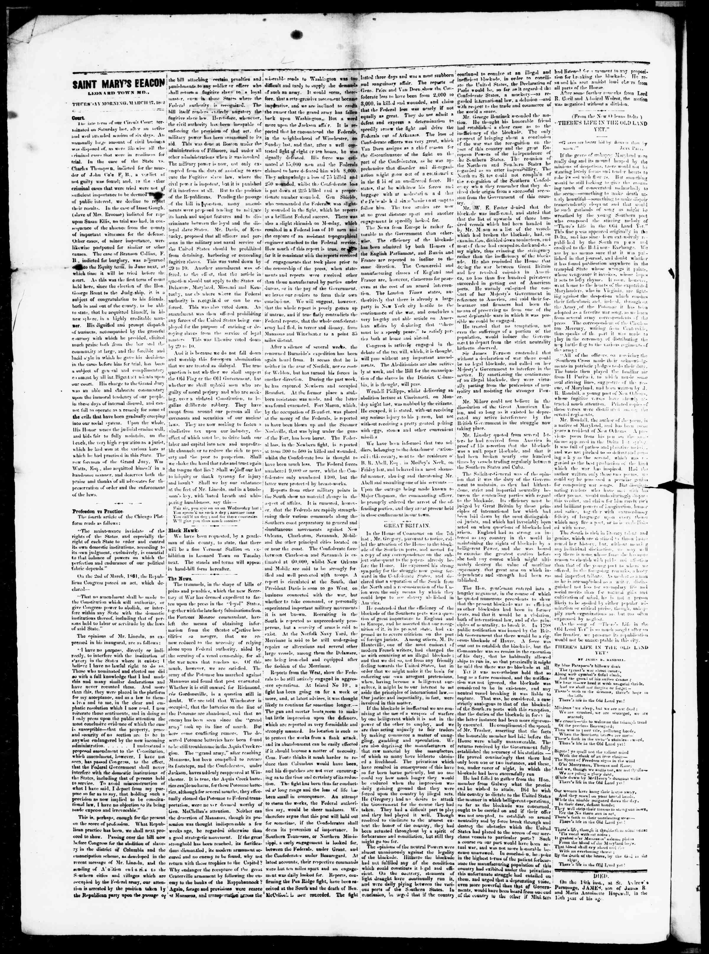 Newspaper of St. Mary's Beacon dated March 27, 1862 Page 2