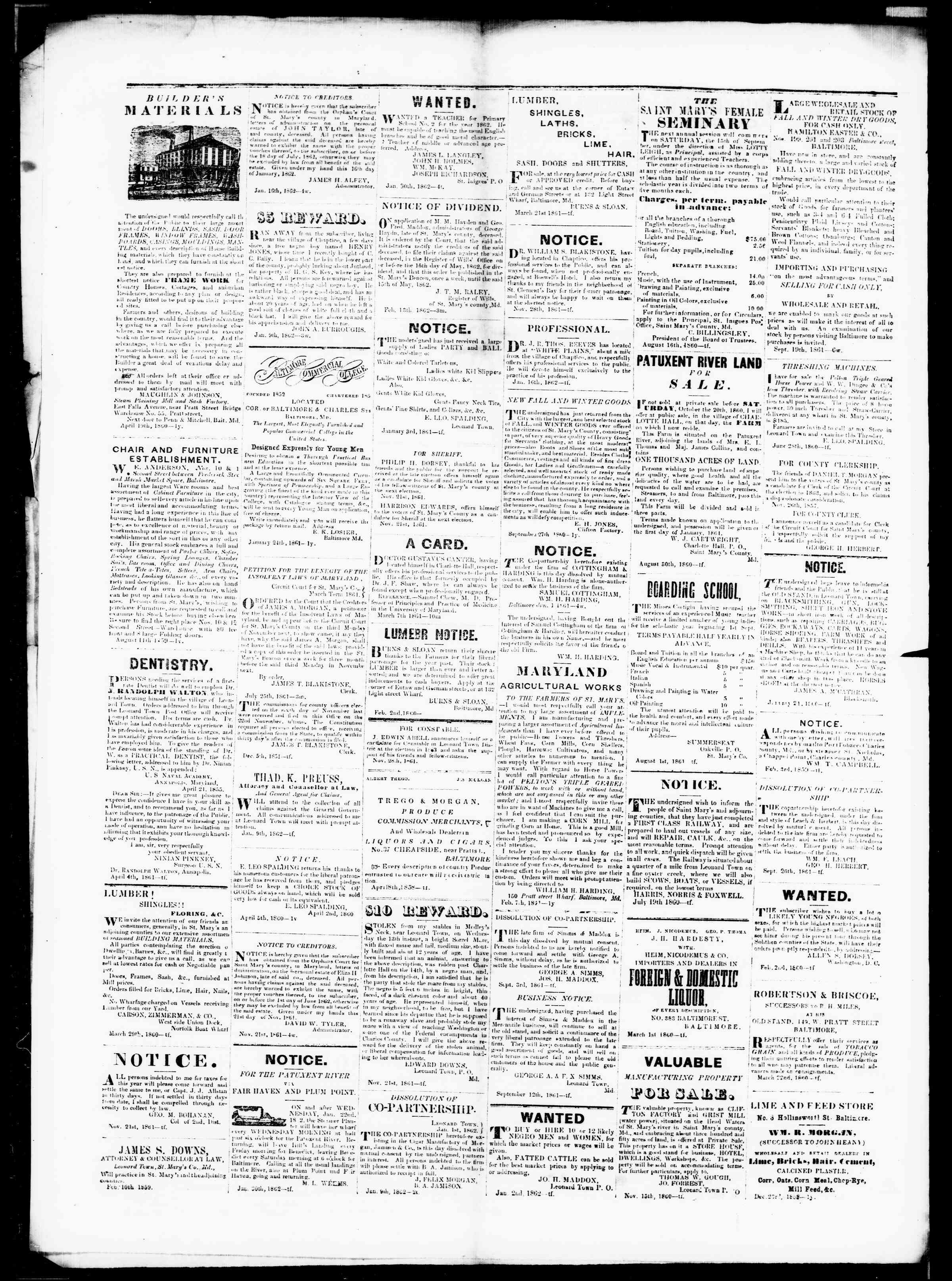 Newspaper of St. Mary's Beacon dated March 27, 1862 Page 4
