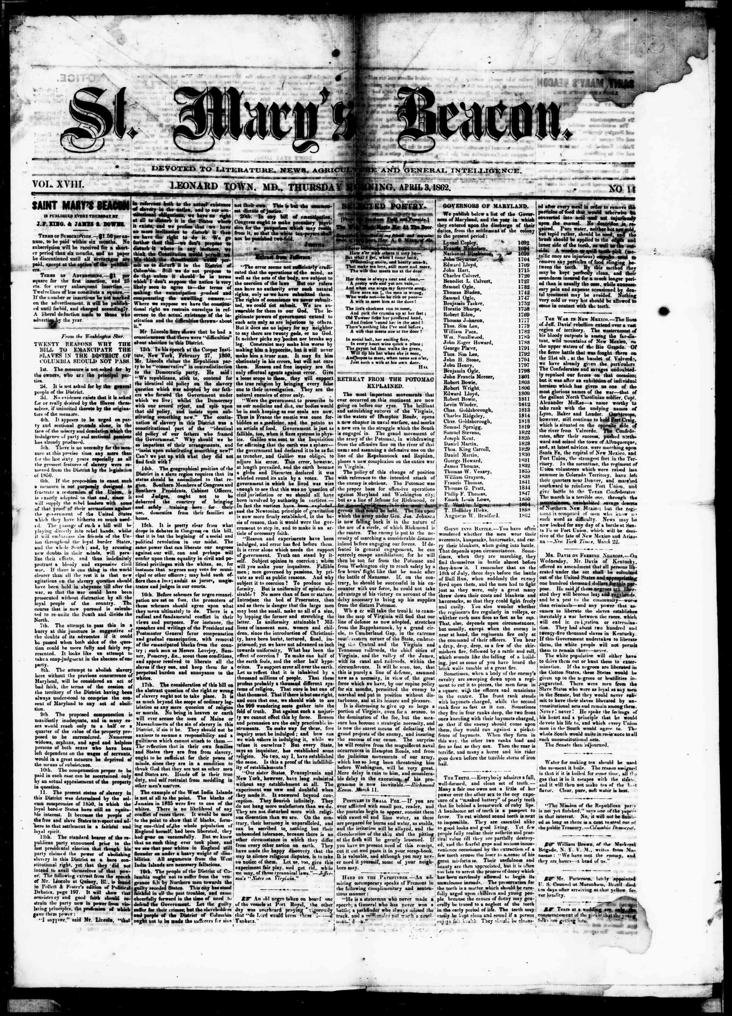 Newspaper of St. Mary's Beacon dated April 3, 1862 Page 1