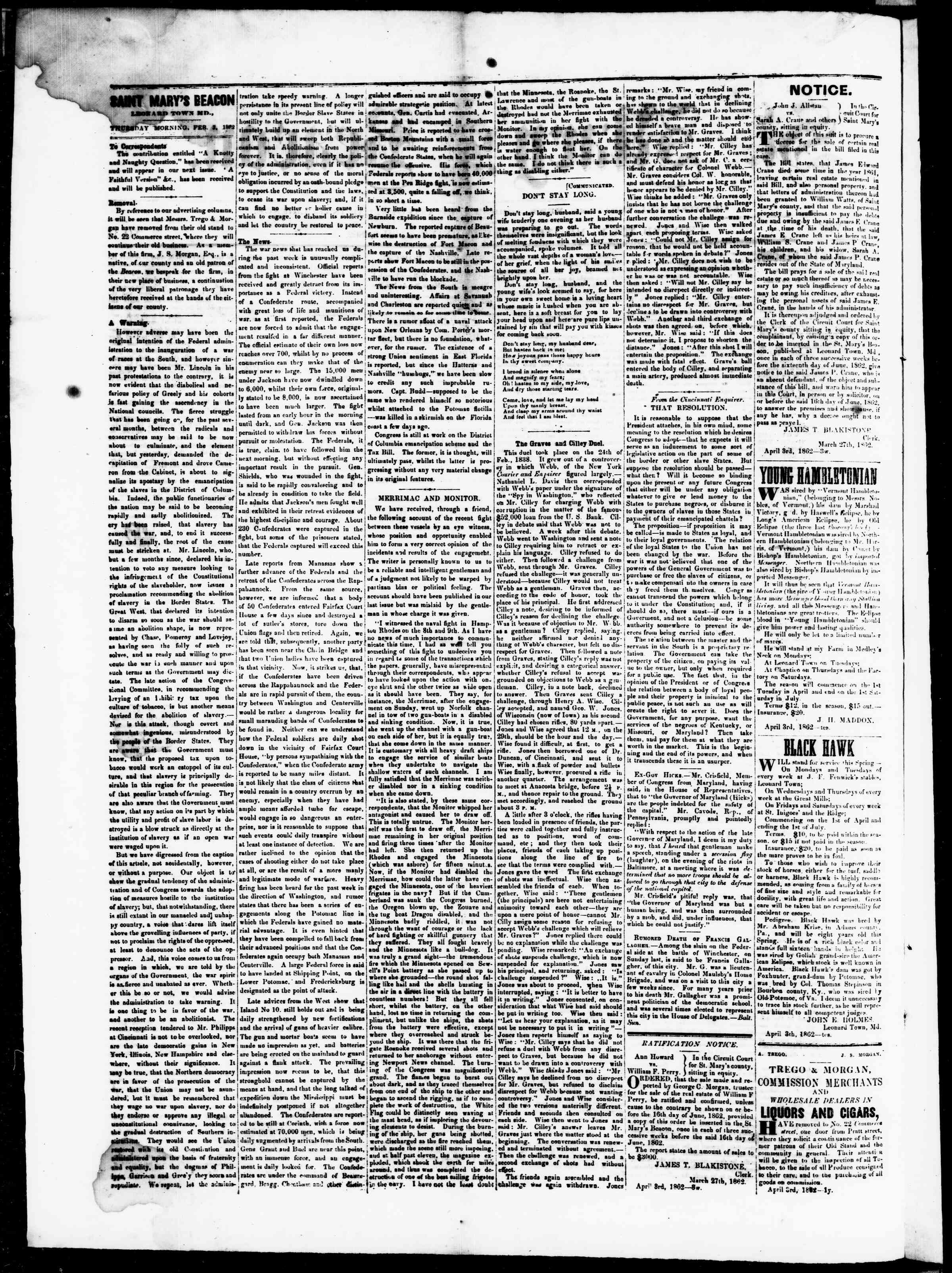 Newspaper of St. Mary's Beacon dated 3 Nisan 1862 Page 2