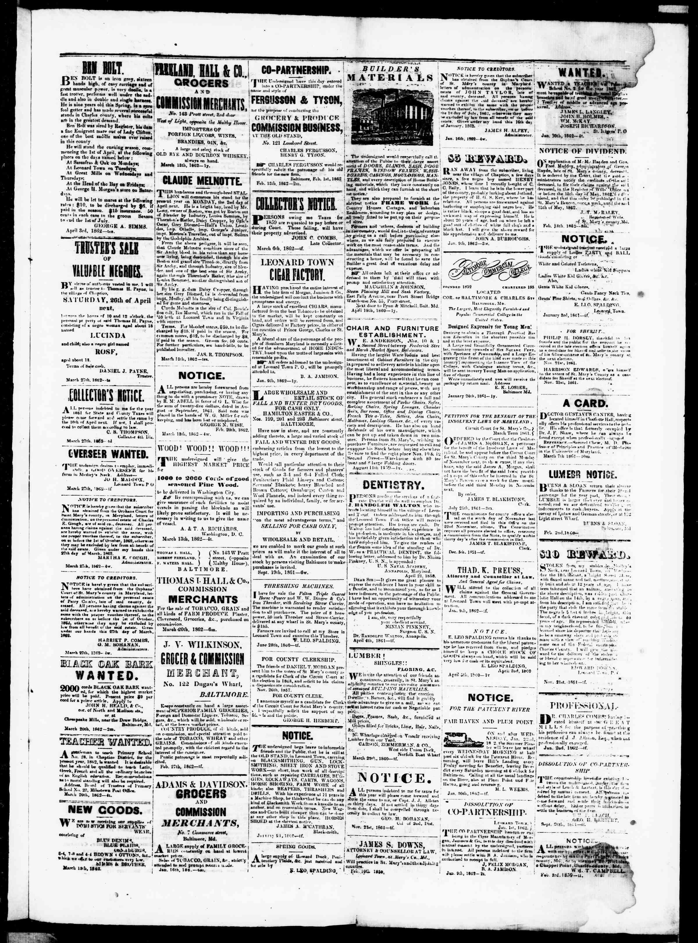 Newspaper of St. Mary's Beacon dated April 3, 1862 Page 3