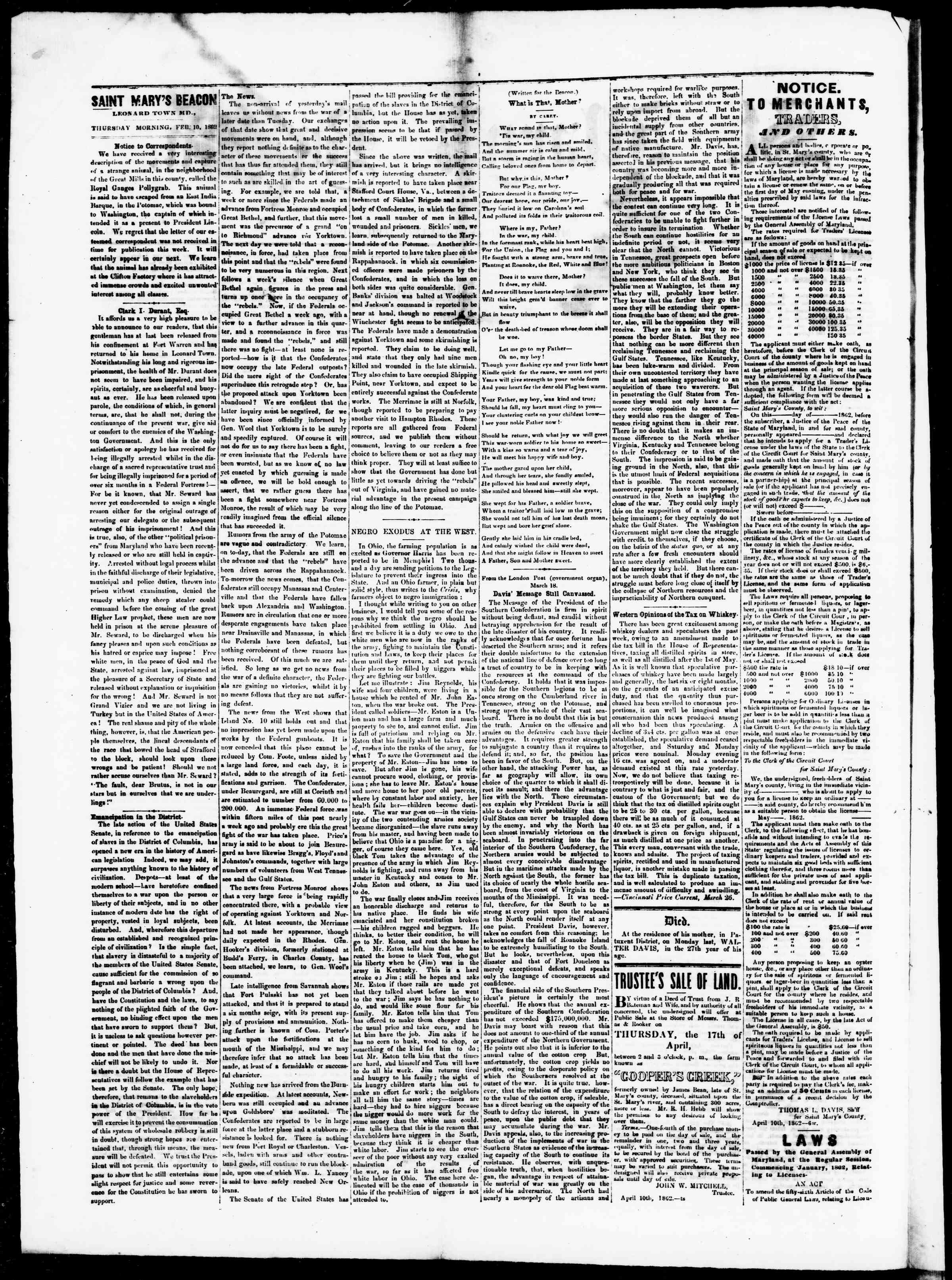 Newspaper of St. Mary's Beacon dated April 10, 1862 Page 2