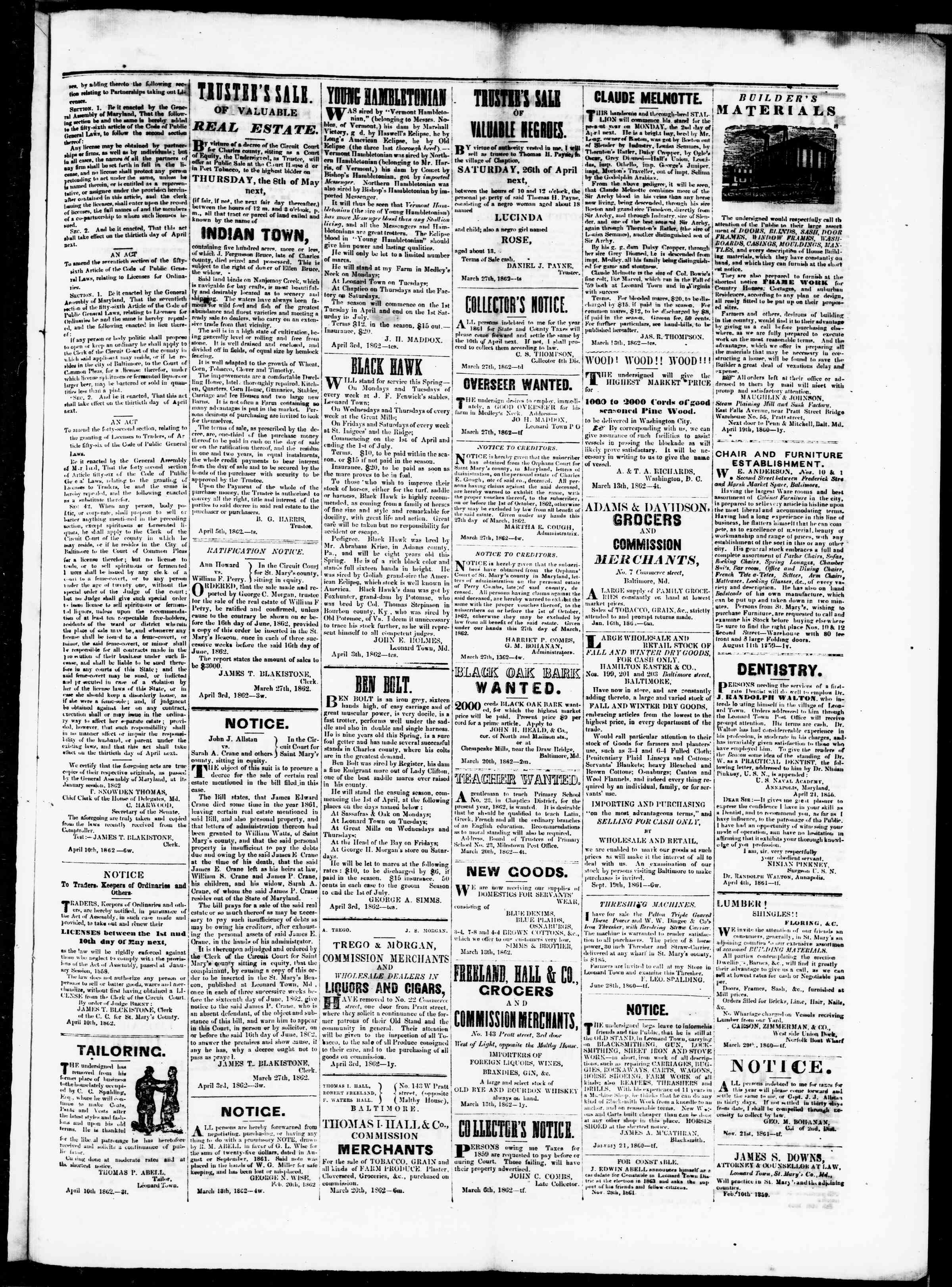 Newspaper of St. Mary's Beacon dated April 10, 1862 Page 3