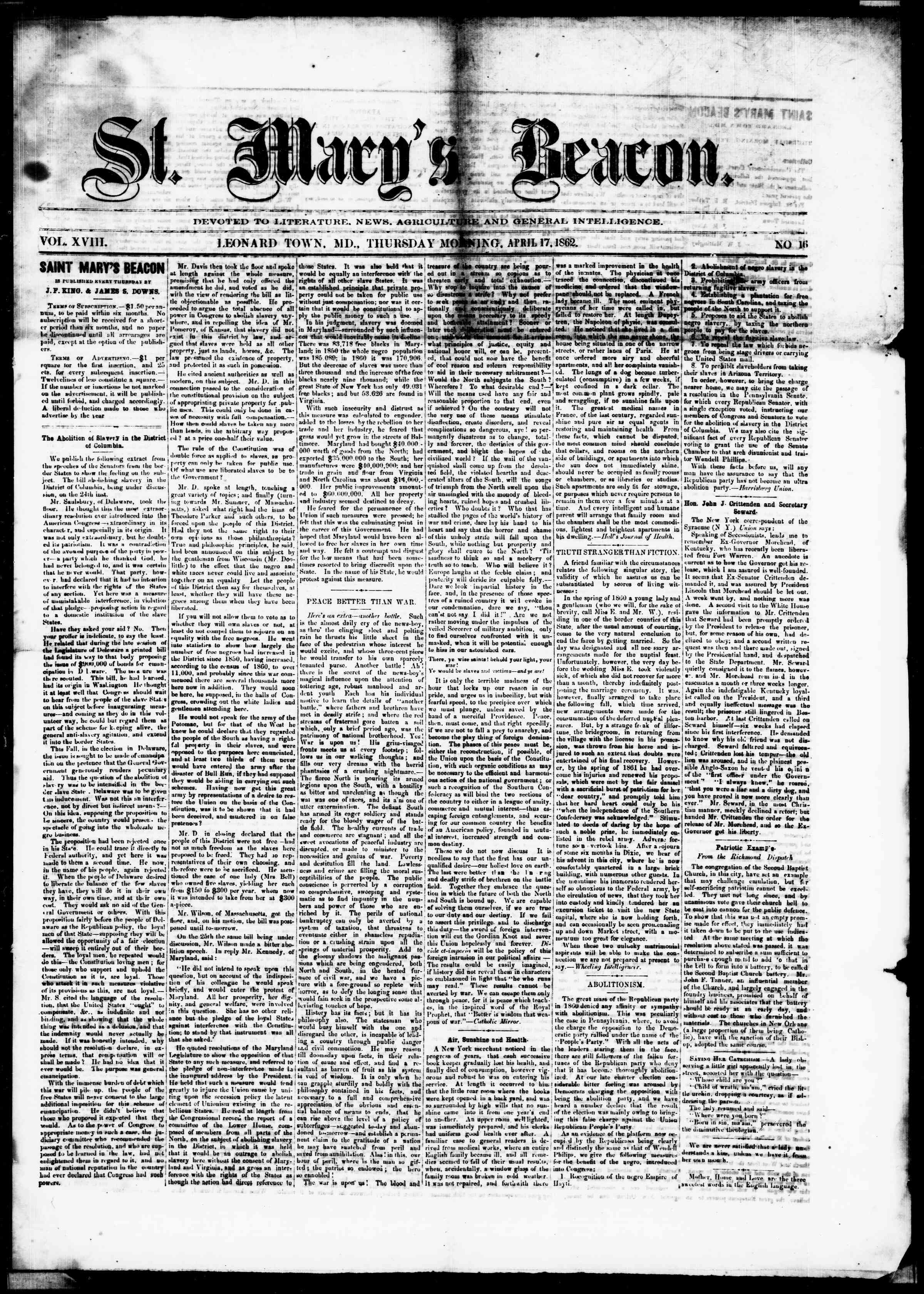 Newspaper of St. Mary's Beacon dated April 17, 1862 Page 1