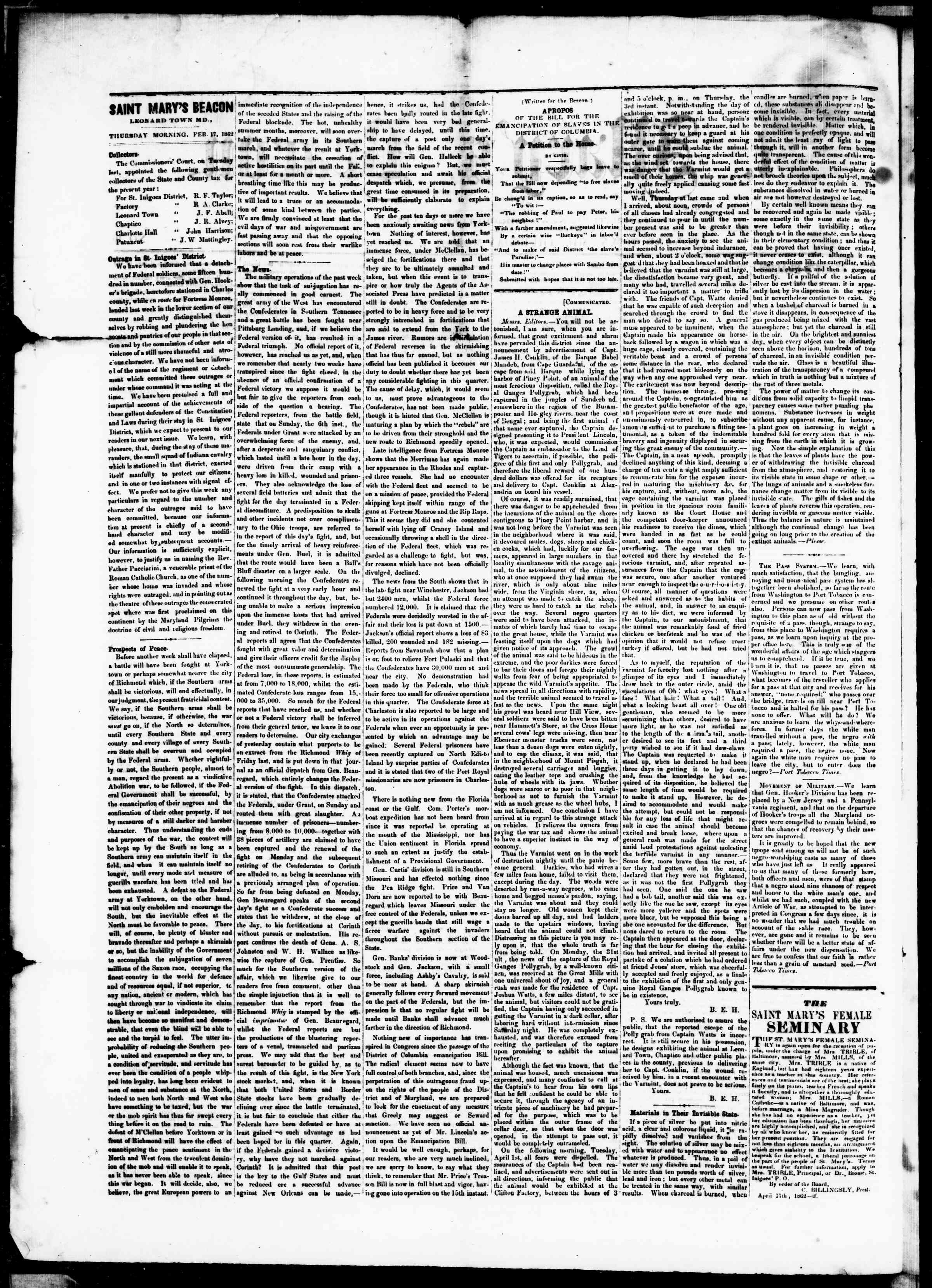Newspaper of St. Mary's Beacon dated April 17, 1862 Page 2