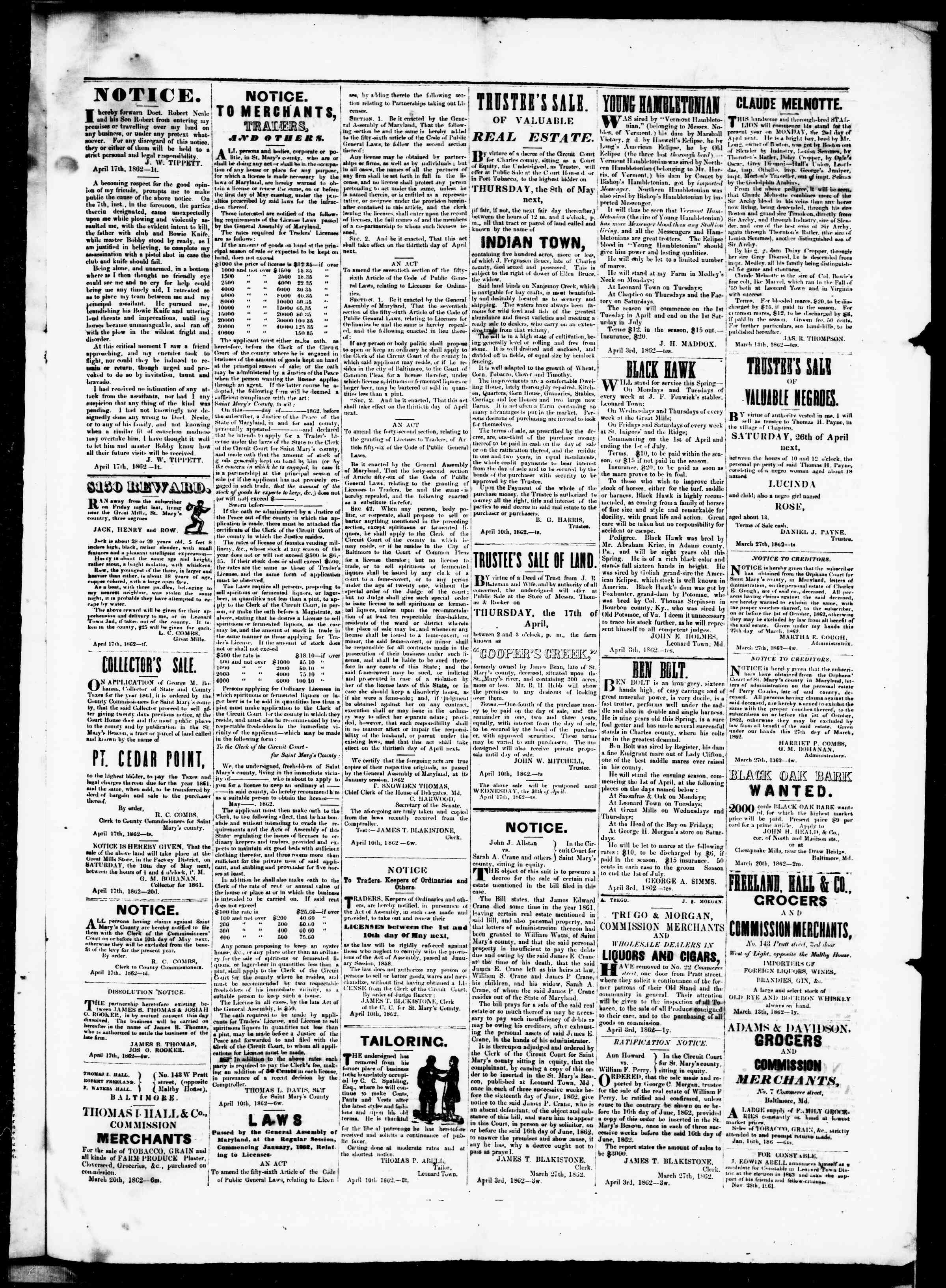 Newspaper of St. Mary's Beacon dated April 17, 1862 Page 3