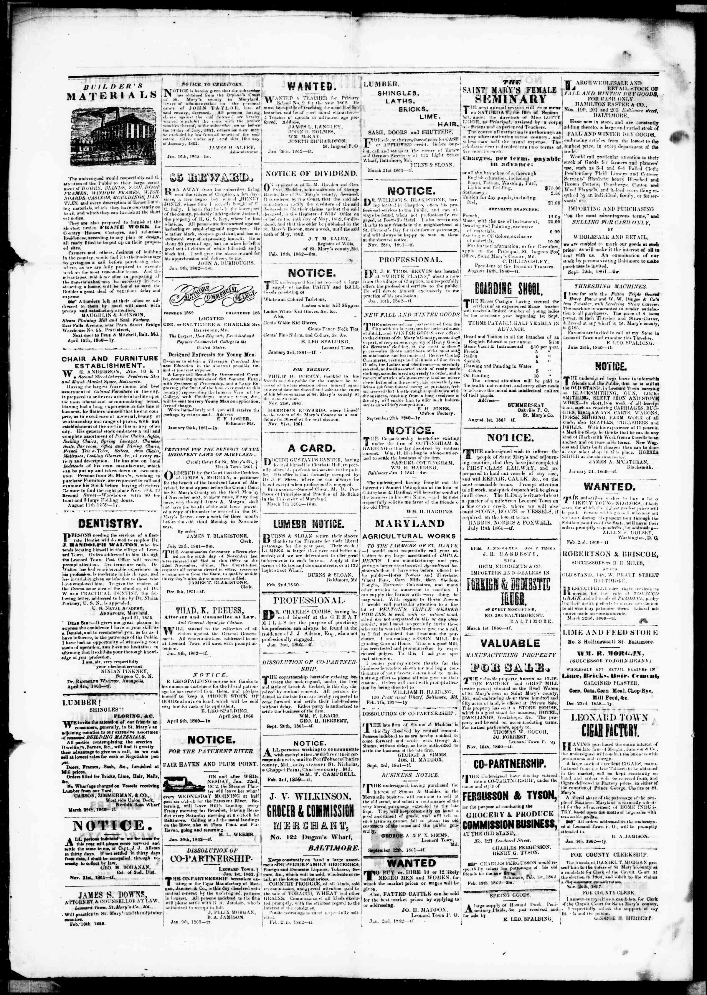Newspaper of St. Mary's Beacon dated April 17, 1862 Page 4