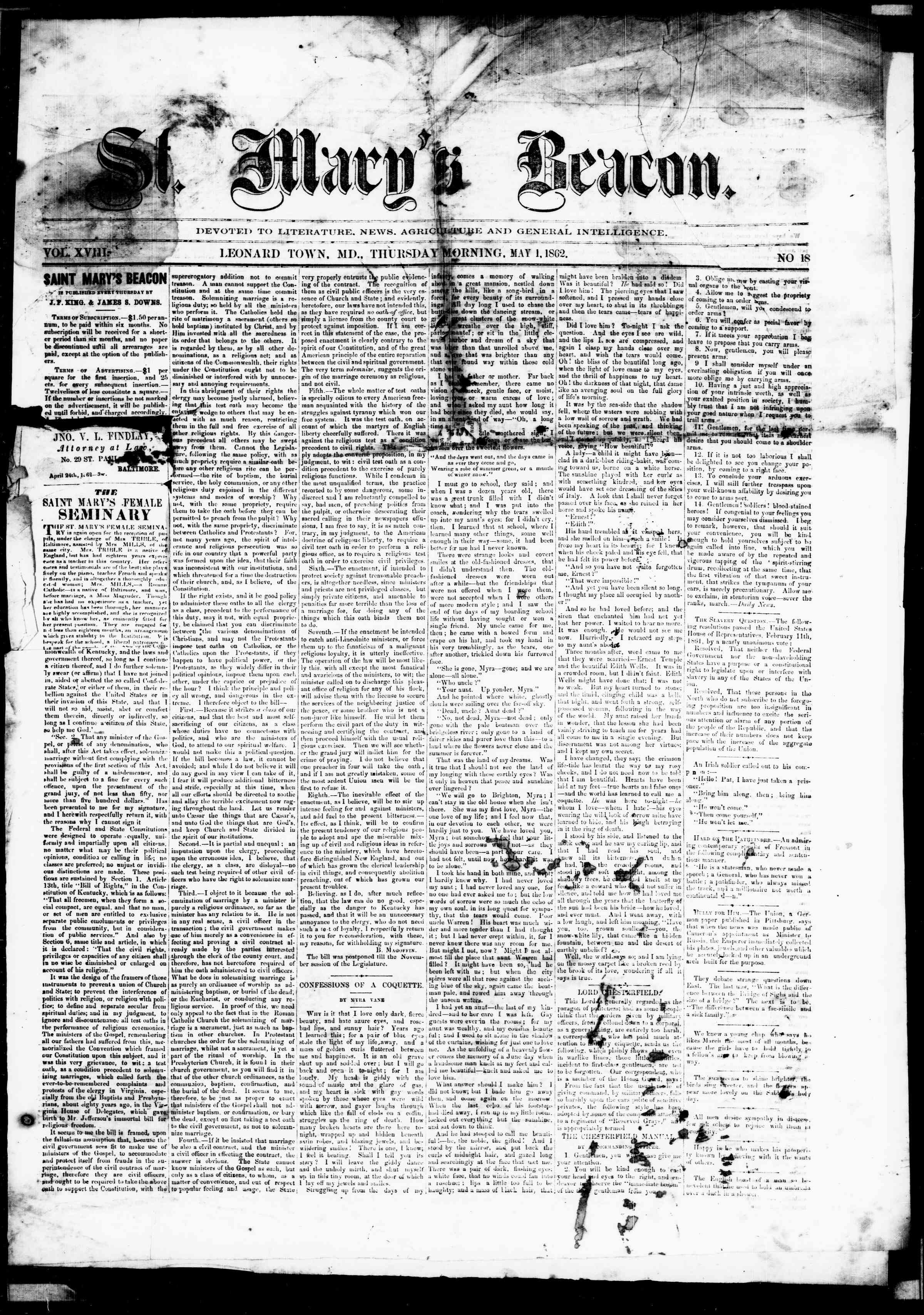 1 Mayıs 1862 tarihli St. Mary's Beacon Gazetesi Sayfa 1
