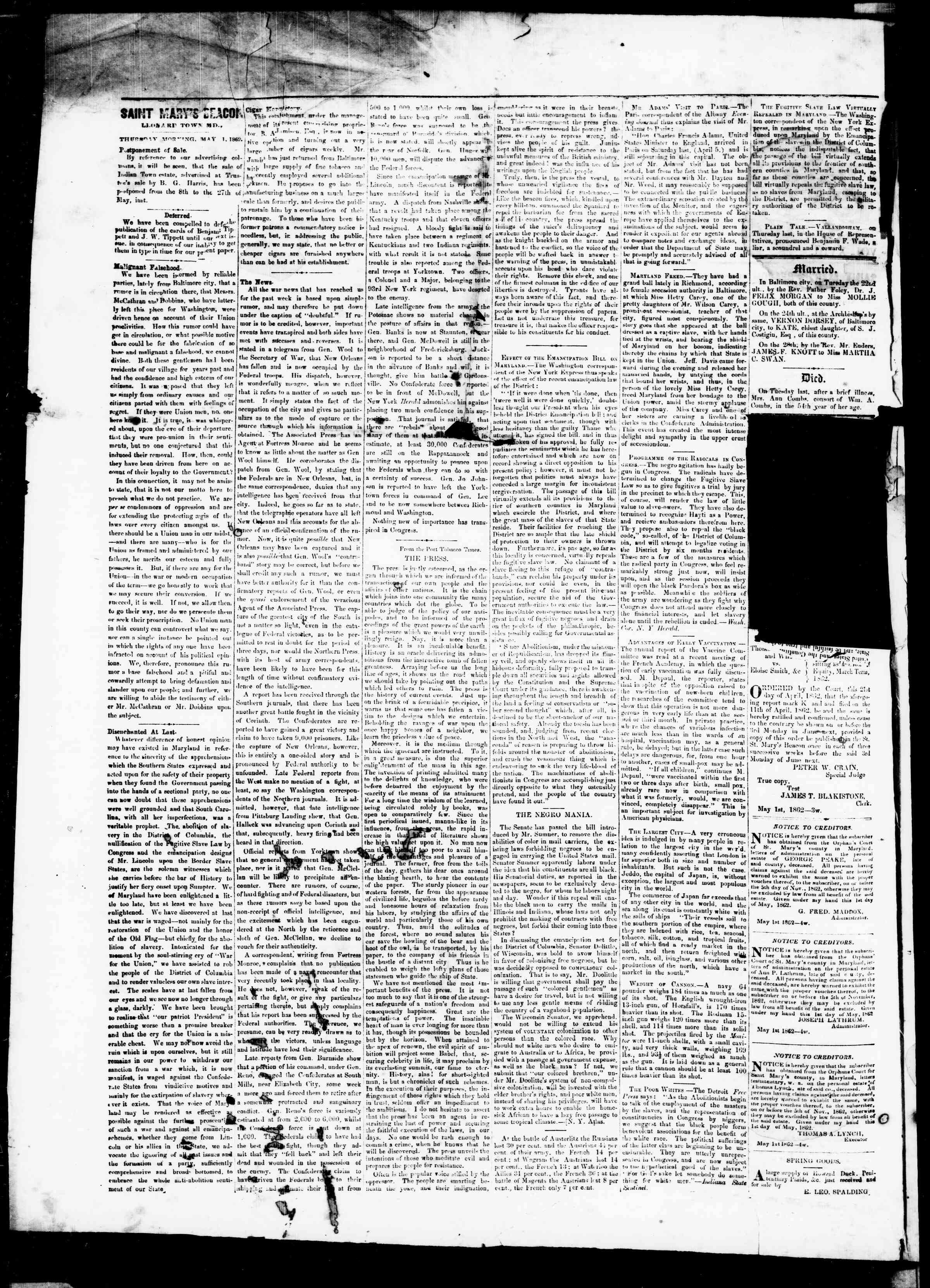 Newspaper of St. Mary's Beacon dated May 1, 1862 Page 2