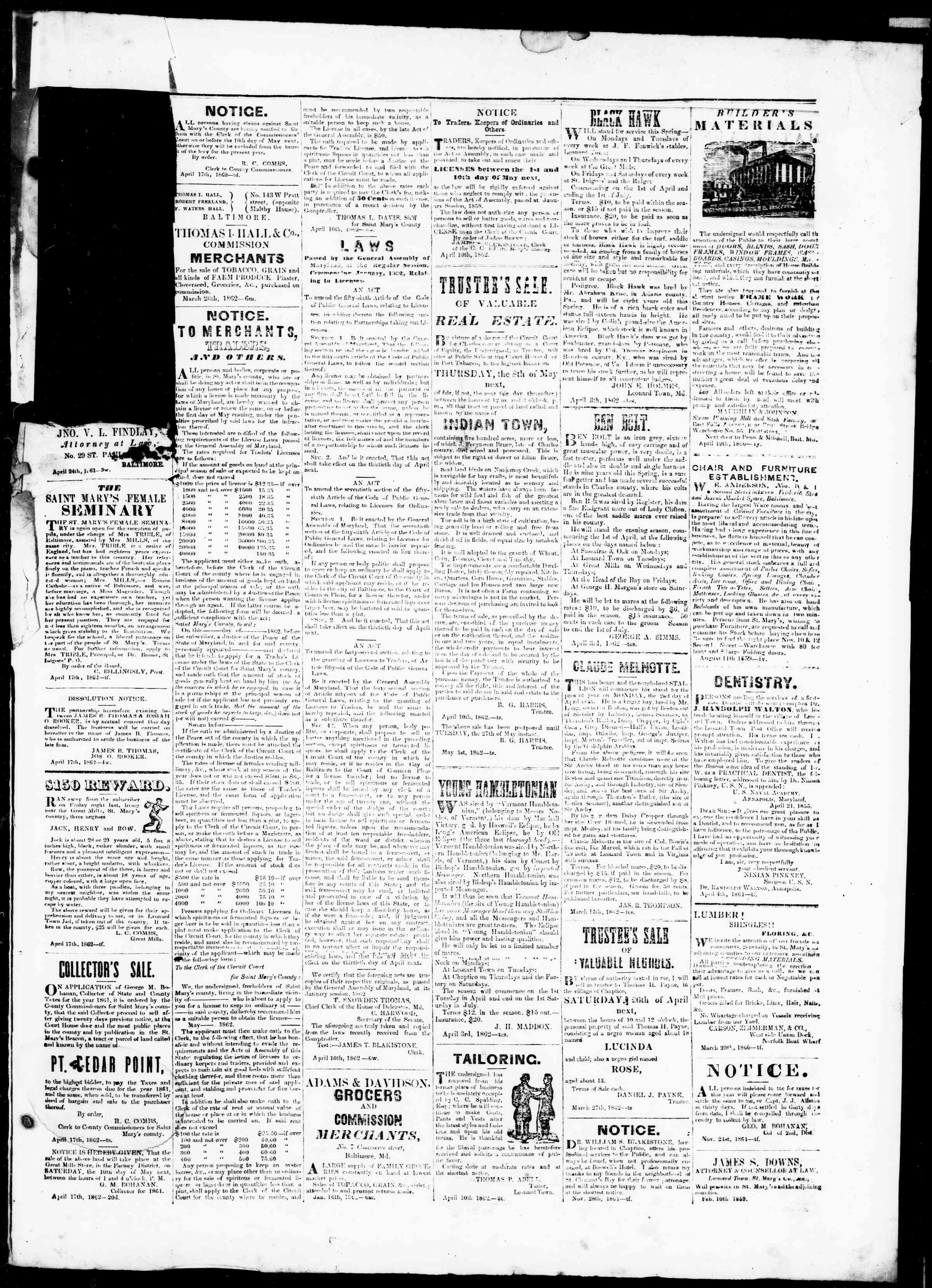 Newspaper of St. Mary's Beacon dated May 1, 1862 Page 3